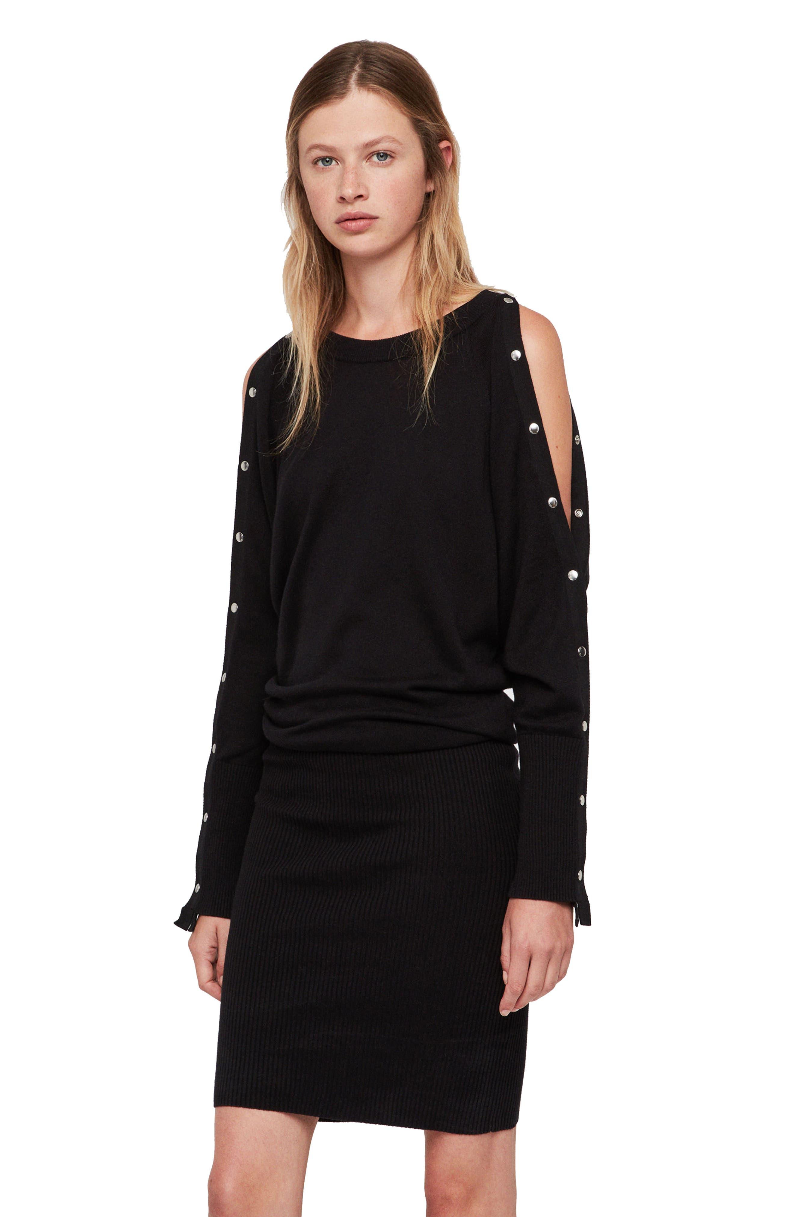 ALLSAINTS,                             Suzie Snap Sleeve Sweater Dress,                             Alternate thumbnail 4, color,                             001