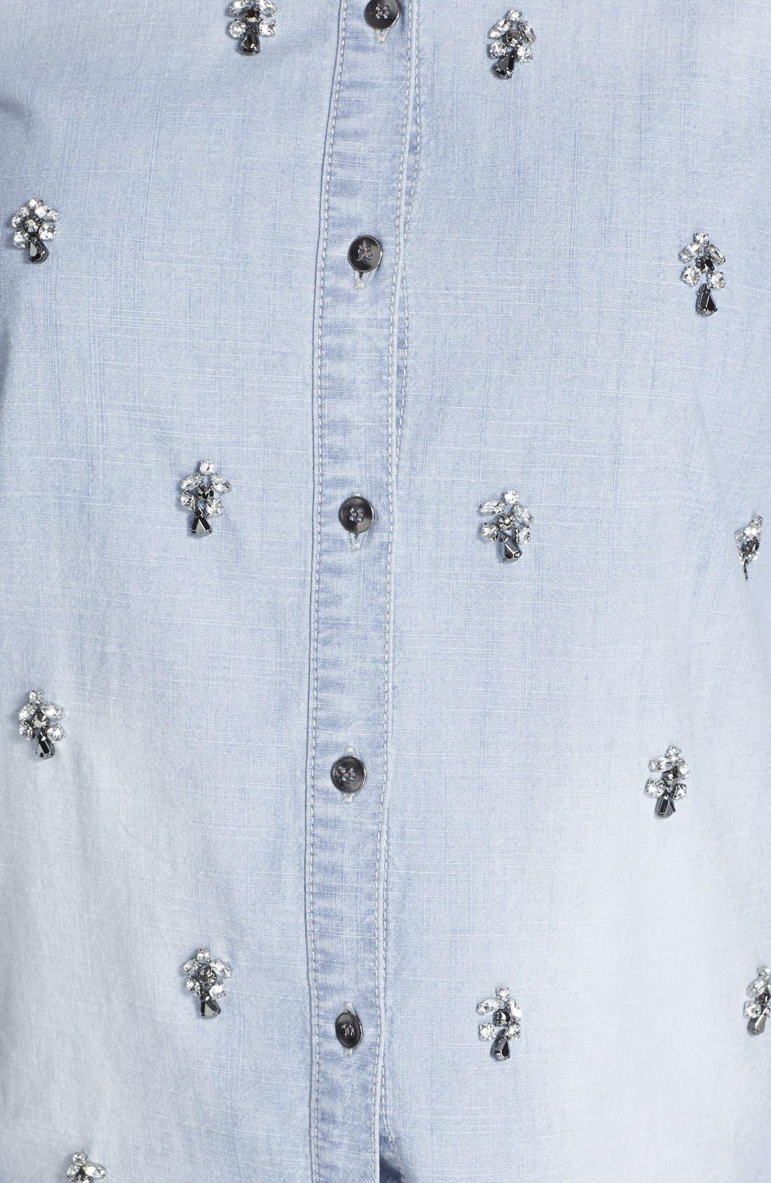 Embellished Denim Shirt,                             Alternate thumbnail 3, color,                             450
