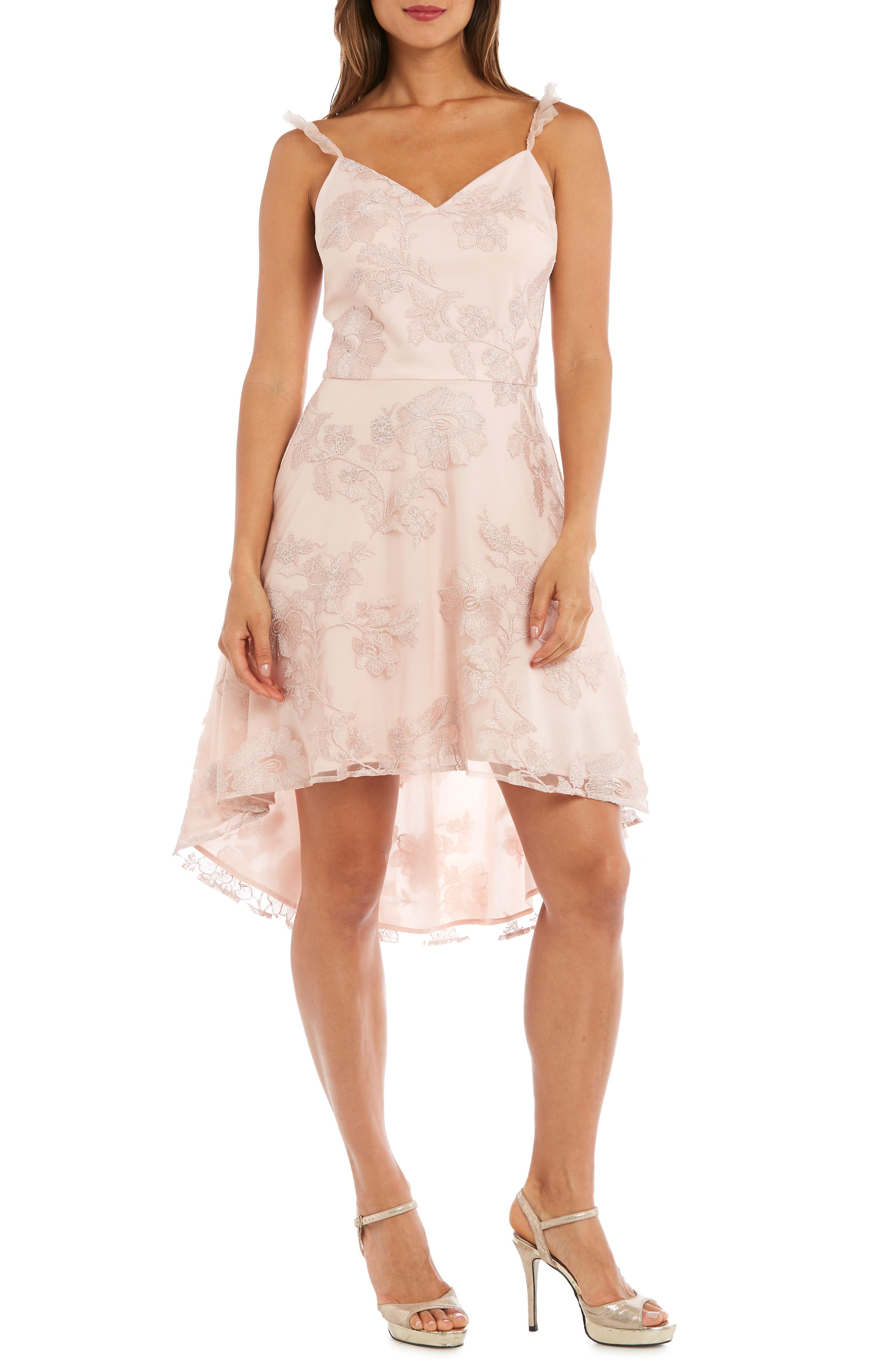 Morgan & Co. Ruffle Strap Embroidered Fit & Flare Dress, Pink