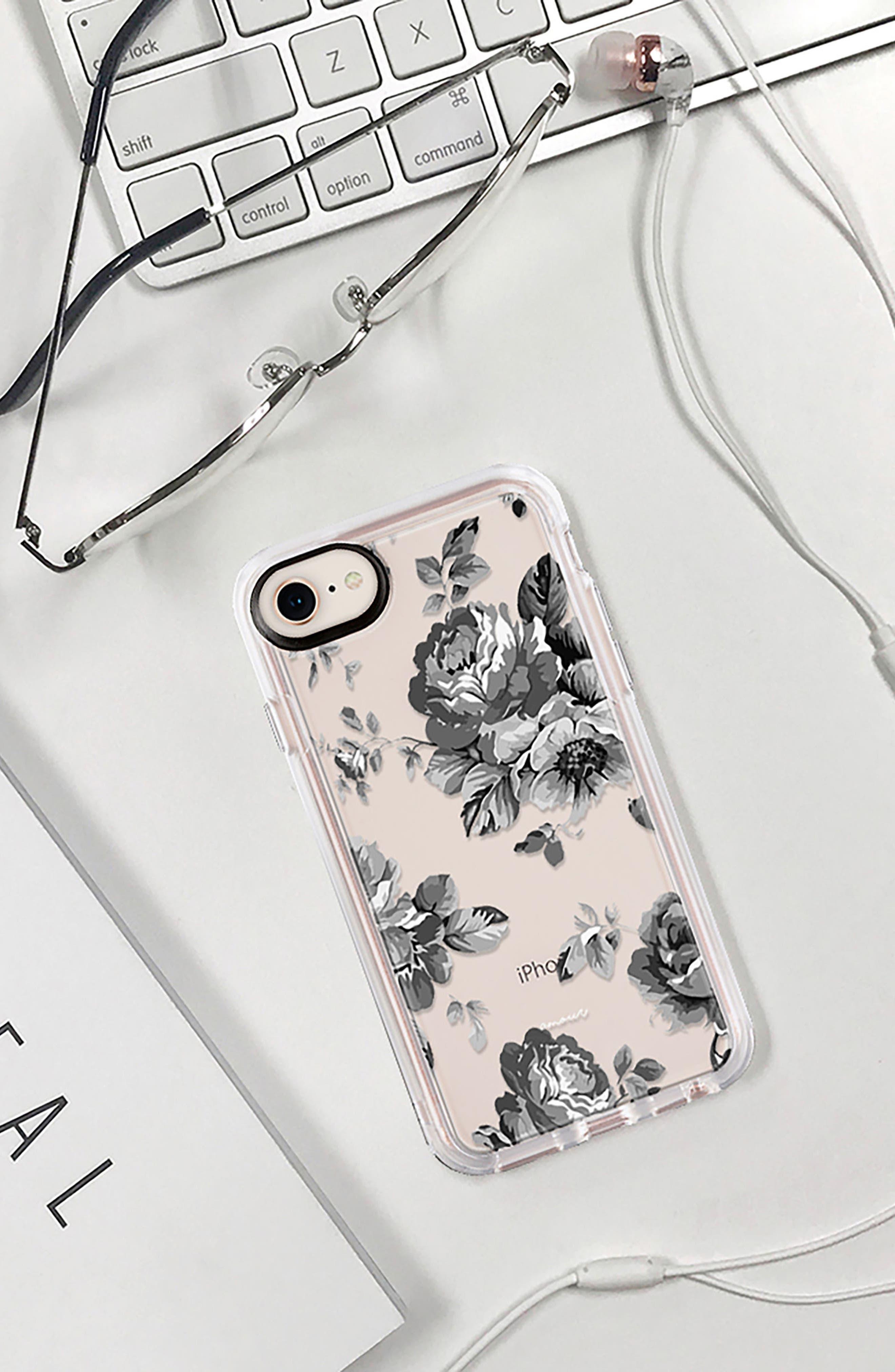 Black Floral iPhone 7/8 & 7/8 Plus Case,                             Alternate thumbnail 8, color,                             020