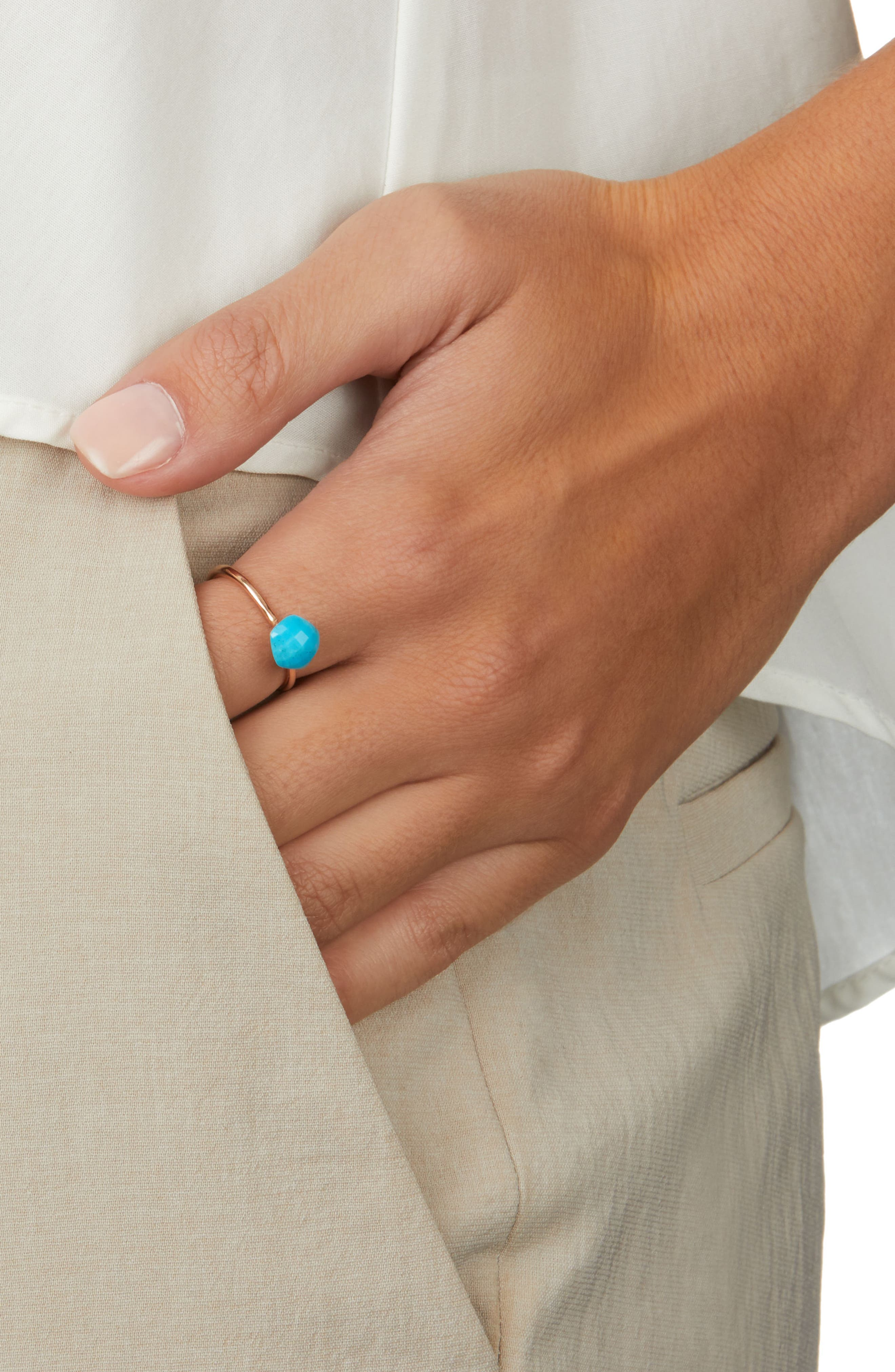 Nura Mini Nugget Stacking Ring,                             Alternate thumbnail 2, color,                             TURQUOISE