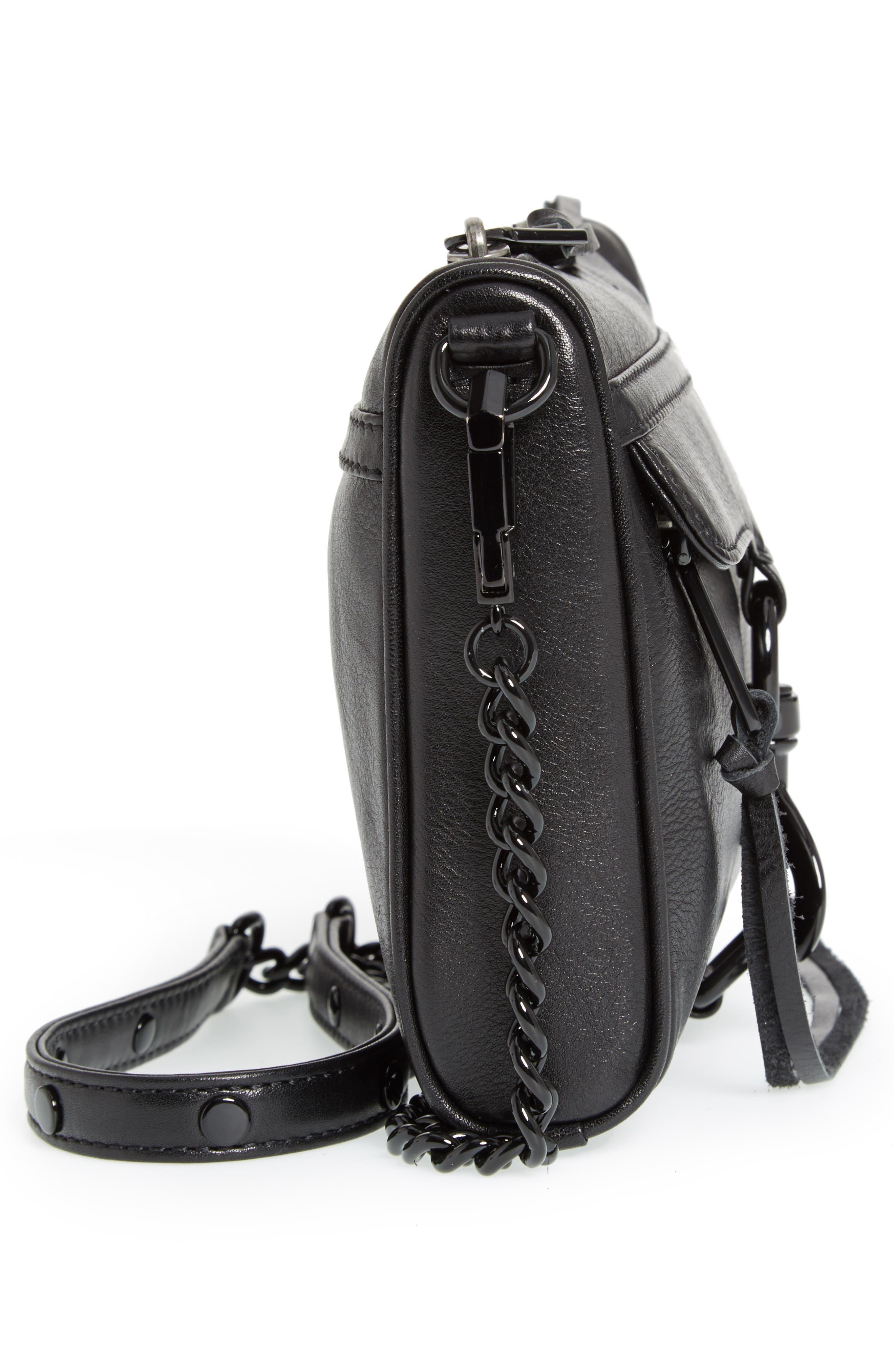Mini MAC Convertible Crossbody Bag,                             Alternate thumbnail 5, color,                             BLACK/ BLACK HRDWR
