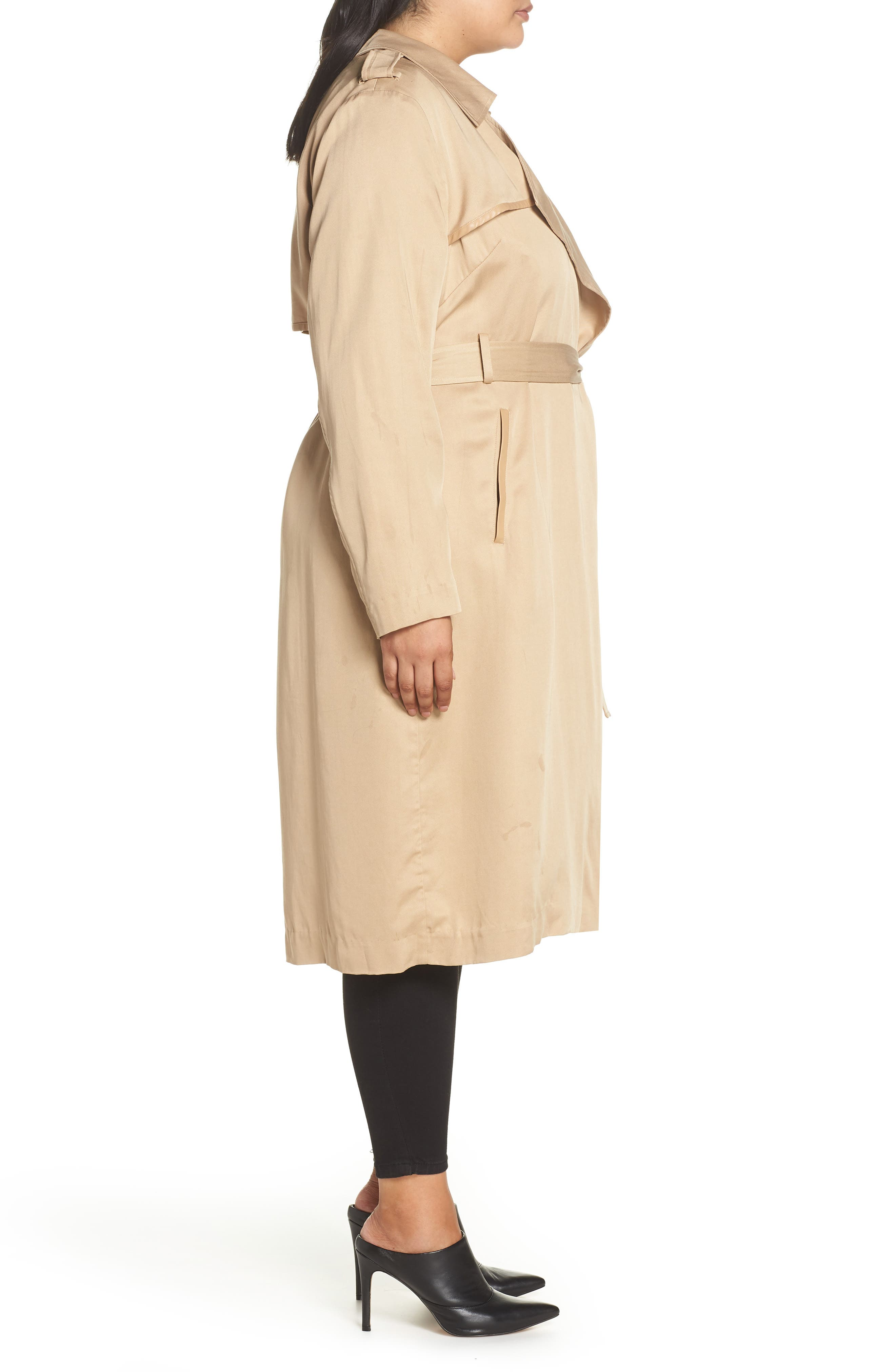 Angelina Trench Coat,                             Alternate thumbnail 3, color,                             SAND