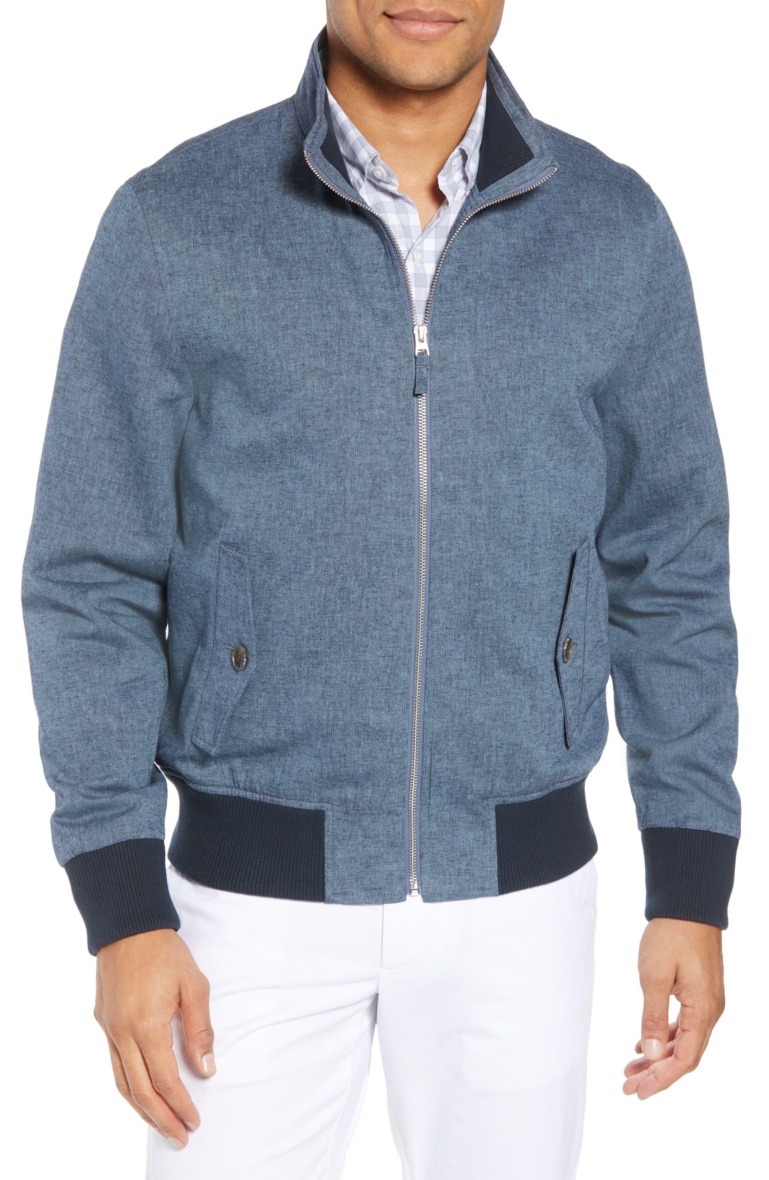 Linen & Cotton Chambray Bomber Jacket,                             Main thumbnail 1, color,                             400