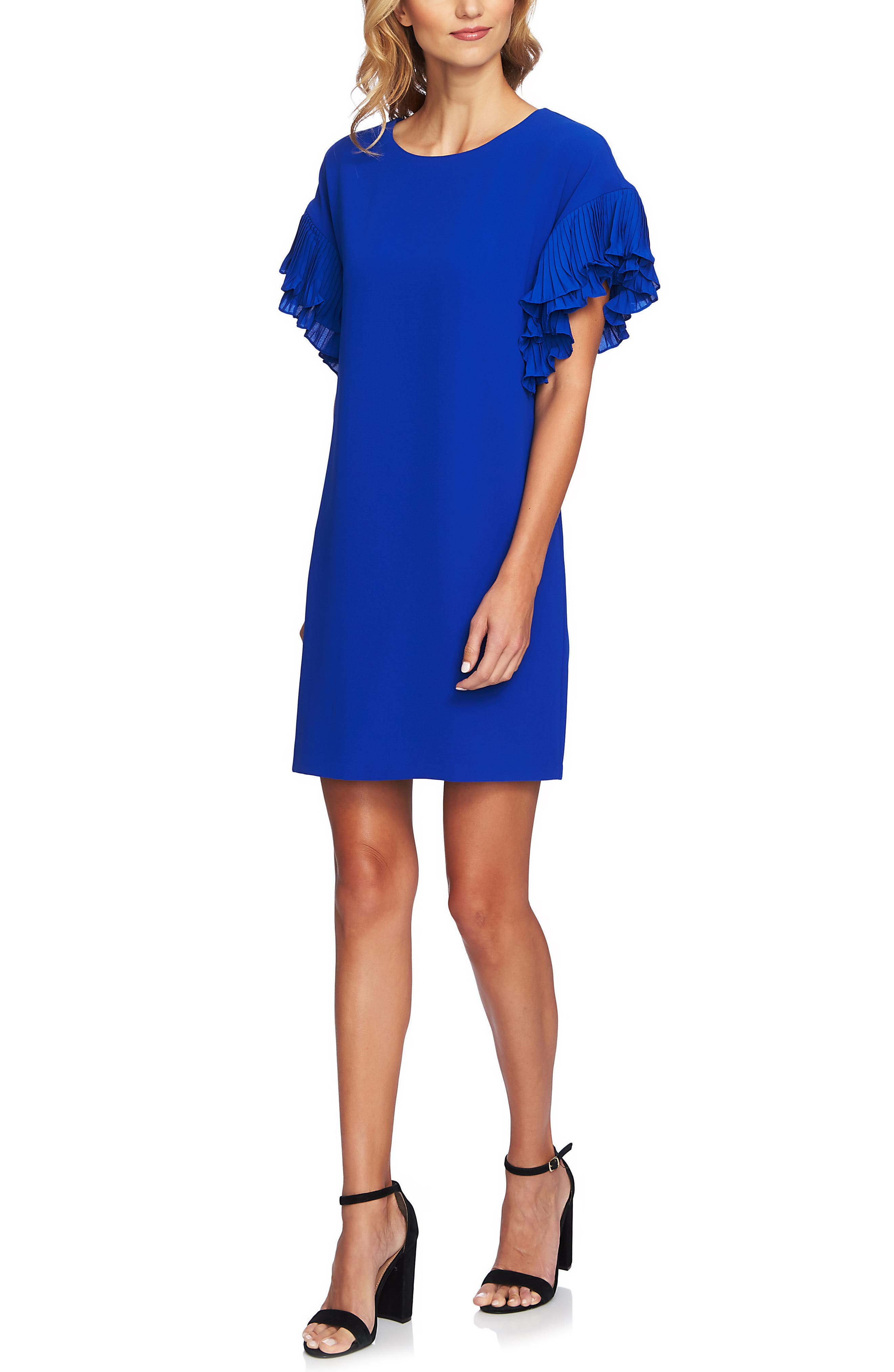 Tiered Pleated Crepe Shift Dress,                             Alternate thumbnail 3, color,                             COBALT