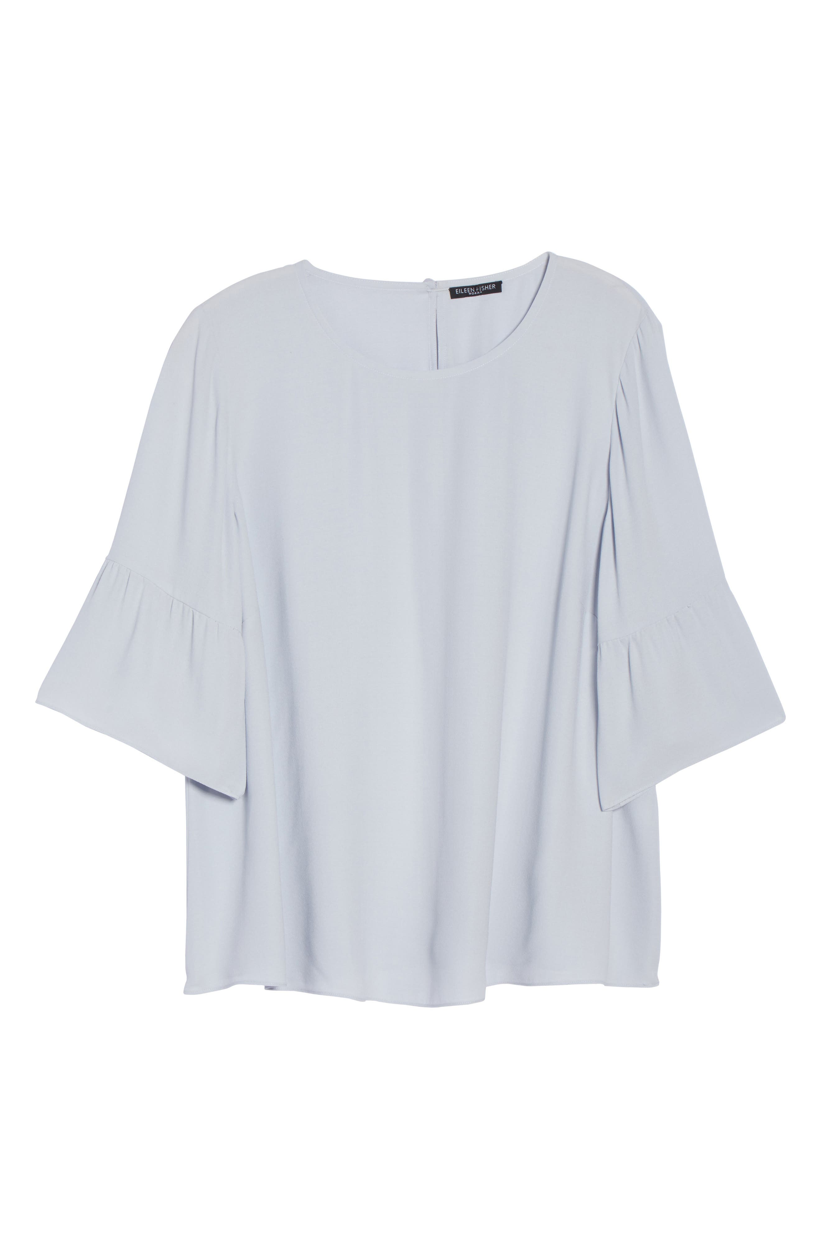 Ruffled Sleeve Silk Top,                             Alternate thumbnail 18, color,