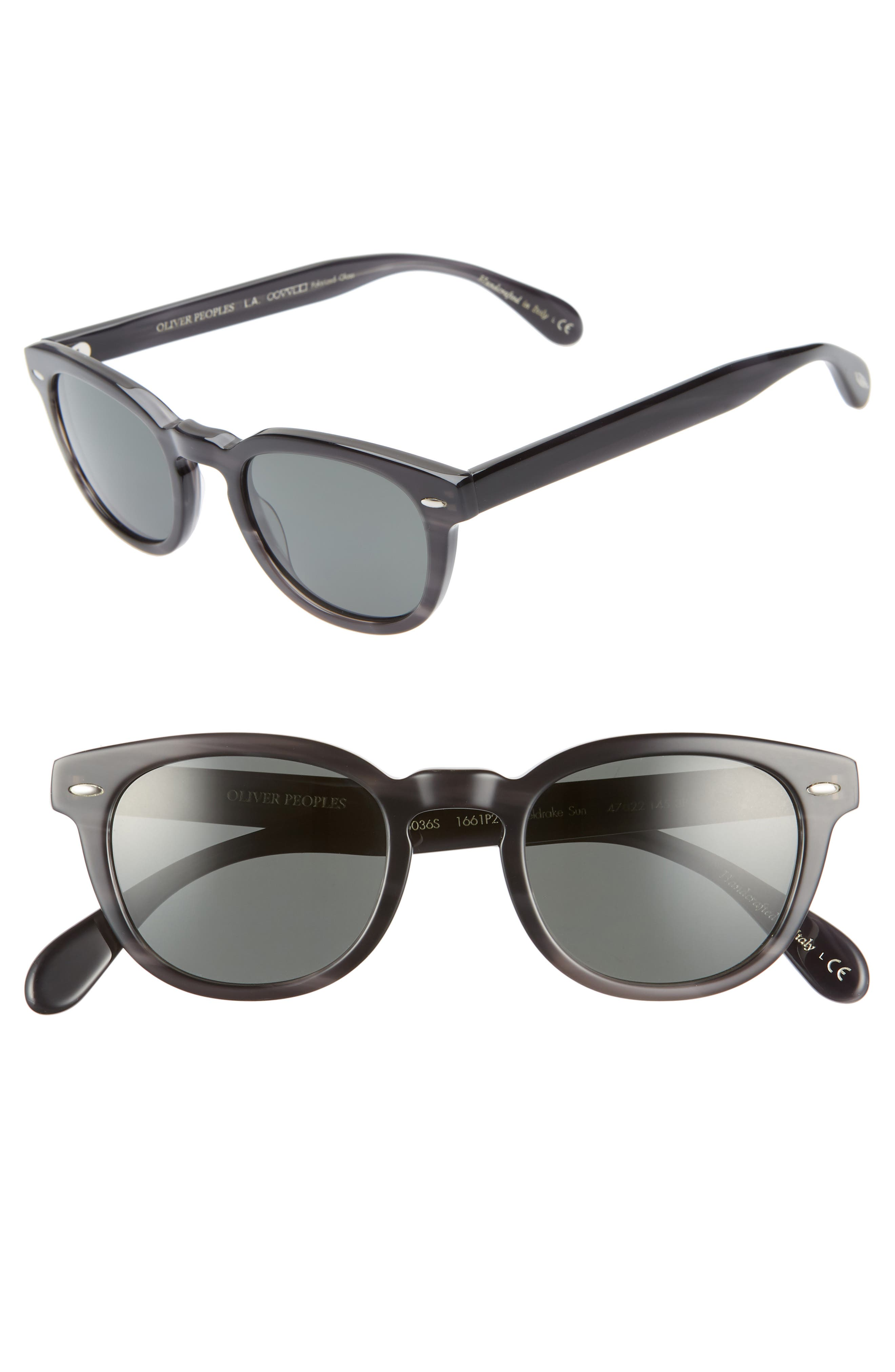 OLIVER PEOPLES Men'S Sheldrake Round Polarized Sunglasses - Charcoal Tort in Charcoal Tortoise