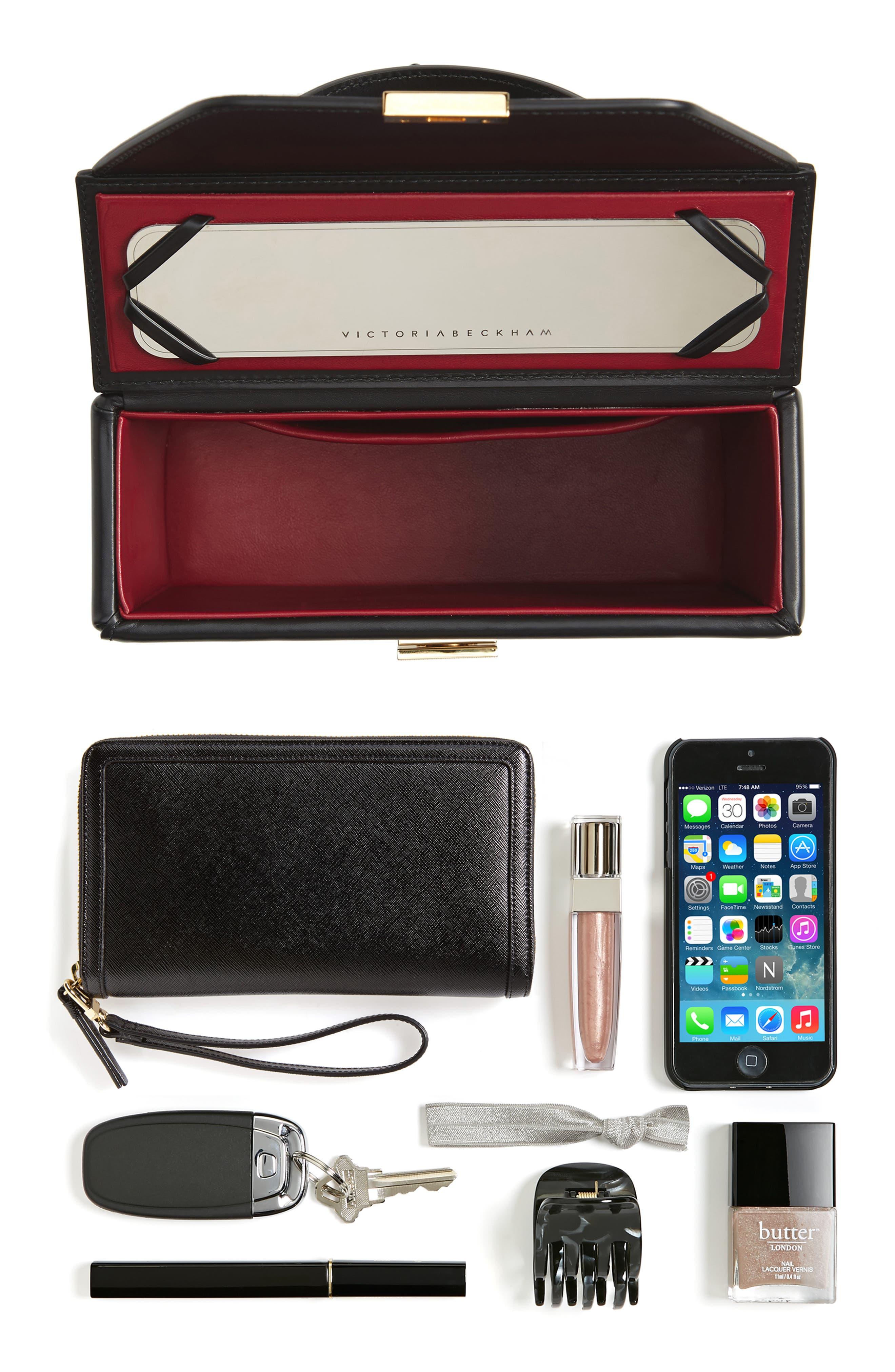 Mini Vanity Top Handle Box Bag,                             Alternate thumbnail 7, color,                             BLACK