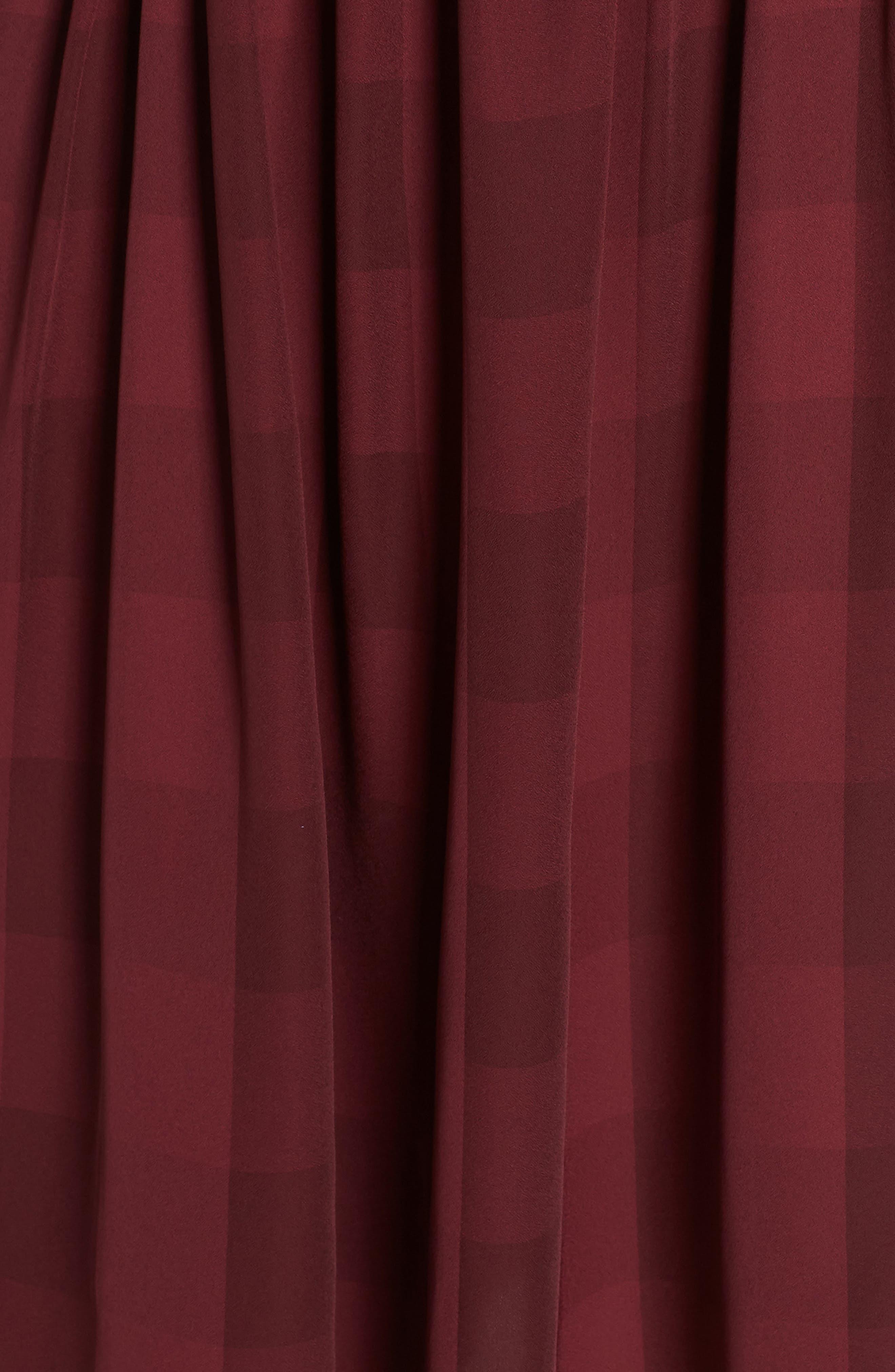 Heidi Ruffle Stripe Minidress,                             Alternate thumbnail 6, color,                             BURGUNDY