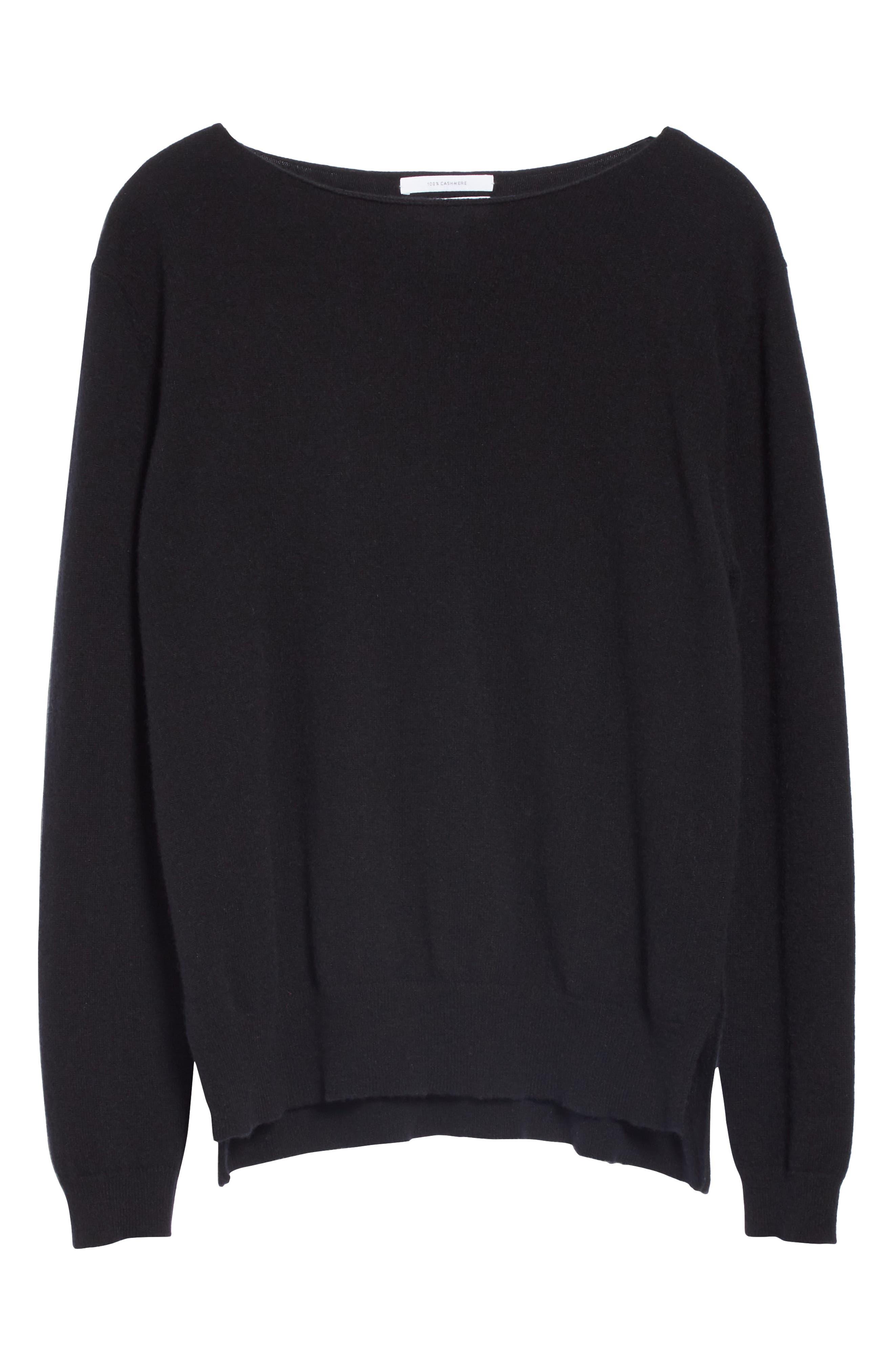 Crewneck Cashmere Sweater,                             Alternate thumbnail 6, color,                             BLACK
