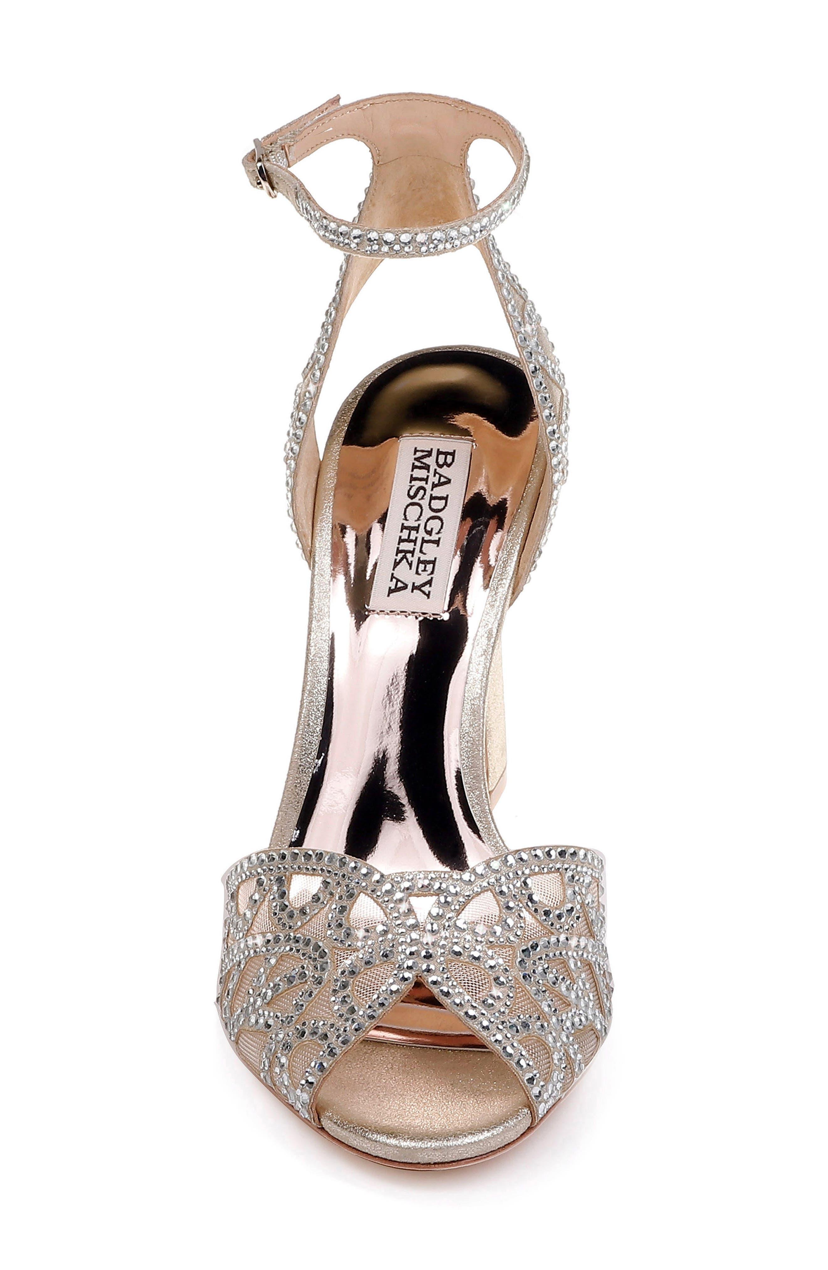 Badgley Mischka Hart Crystal Embellished Sandal,                             Alternate thumbnail 4, color,                             040