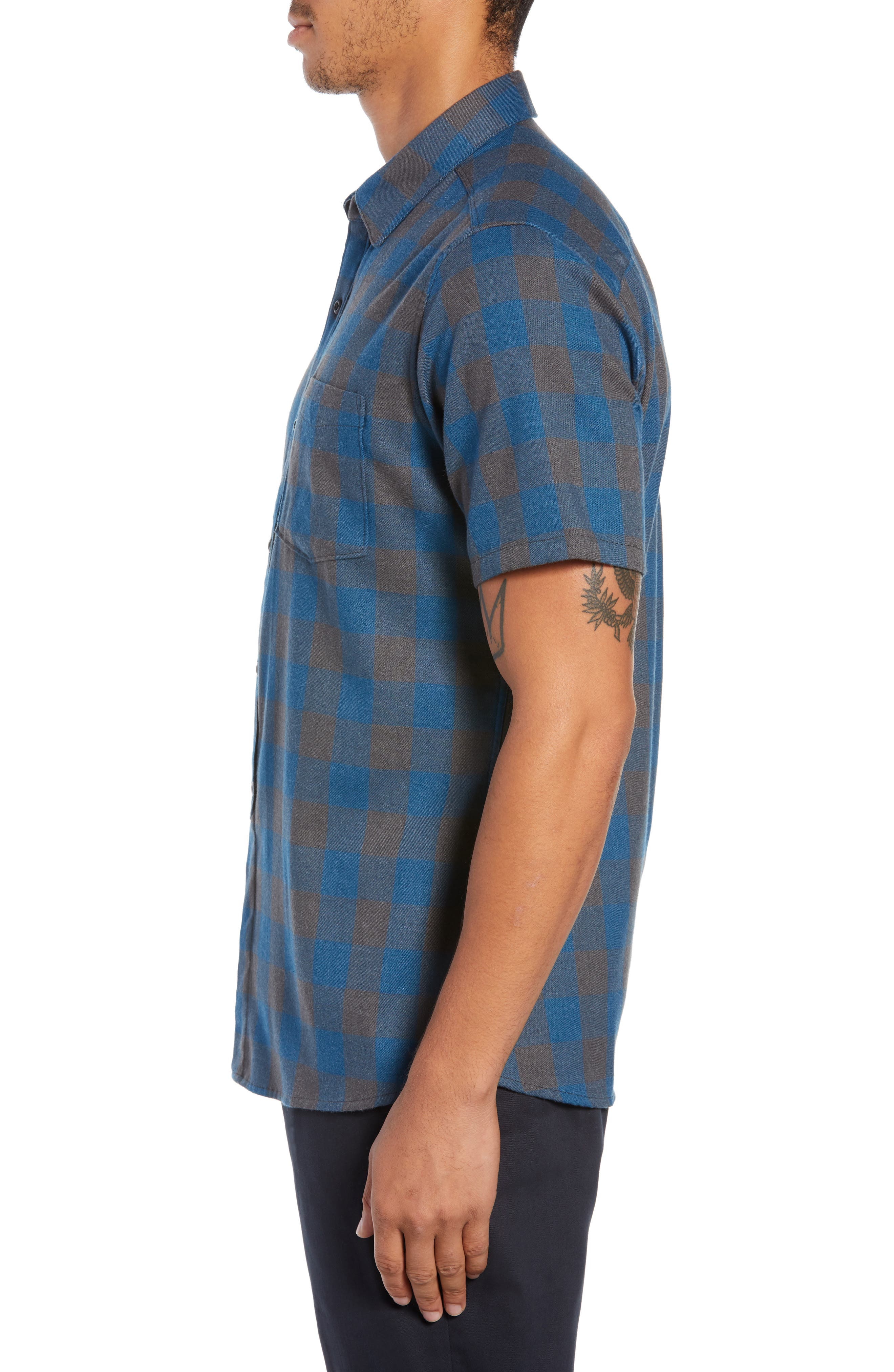 Bison Check Twill Woven Shirt,                             Alternate thumbnail 4, color,                             BLUE FORCE HEATHER