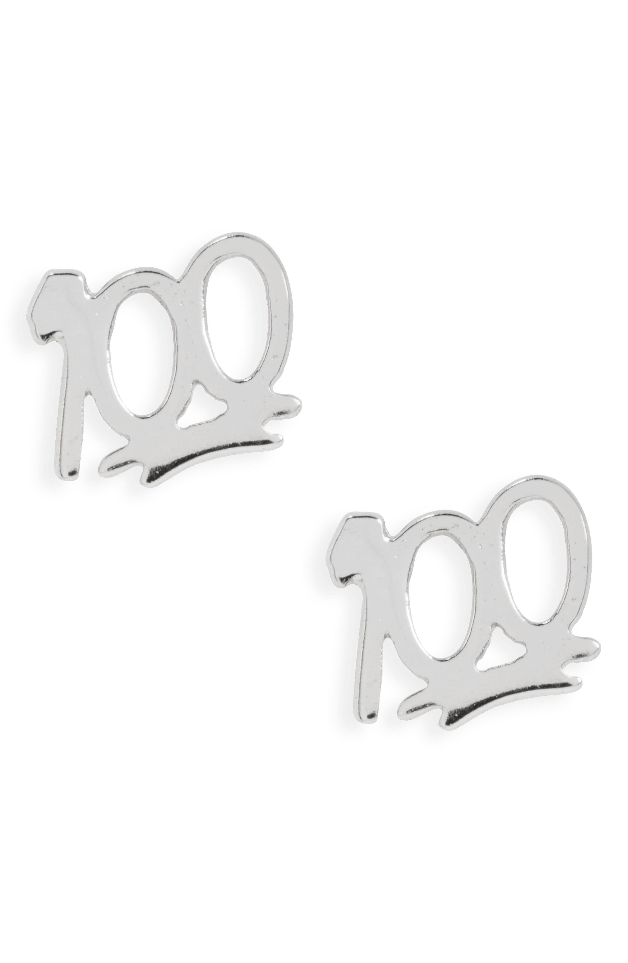 100 Stud Earrings,                         Main,                         color, SILVER
