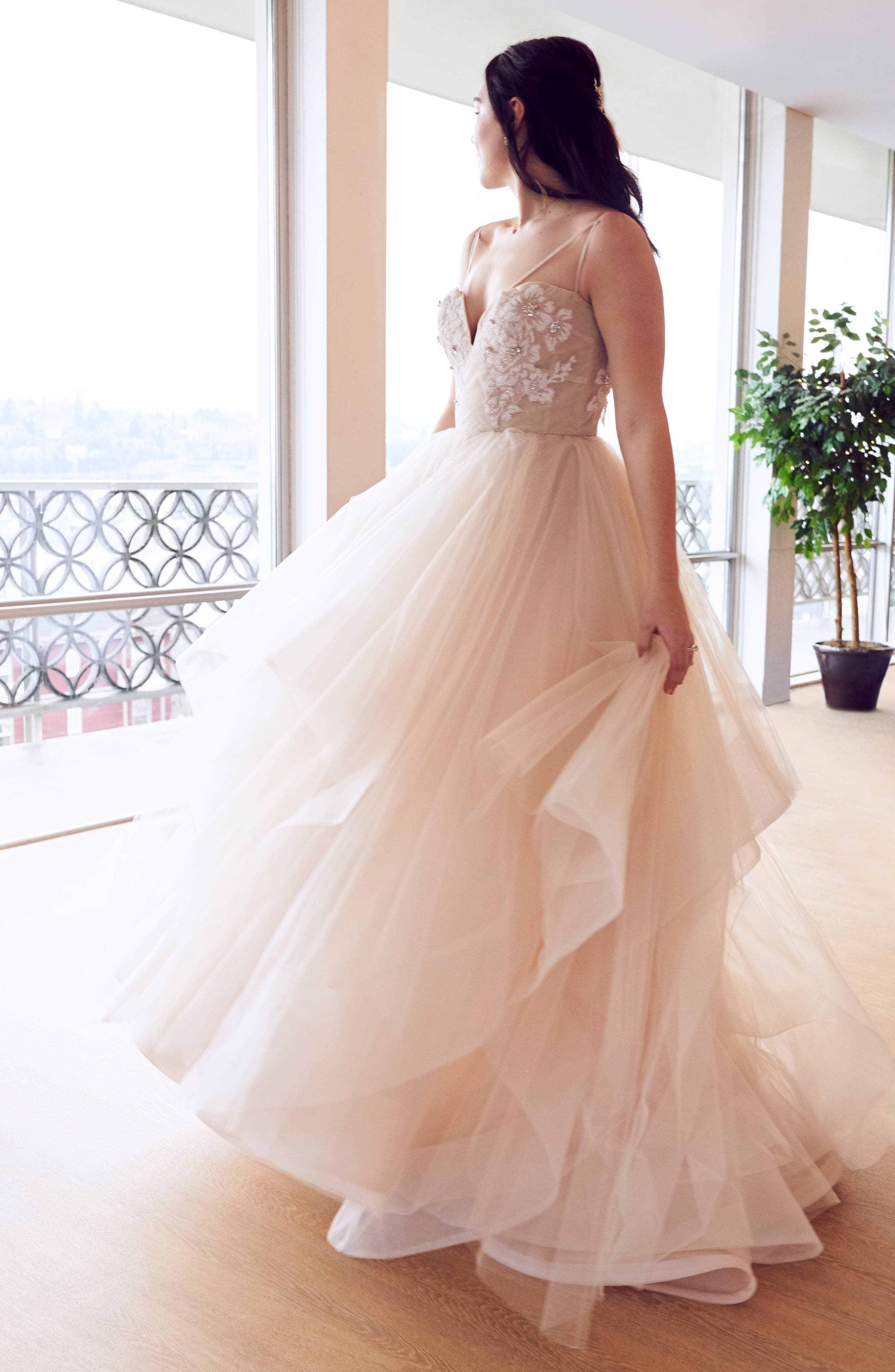 Keagan Embellished Tulle Ballgown,                             Alternate thumbnail 3, color,                             SWEET HONEY BEE