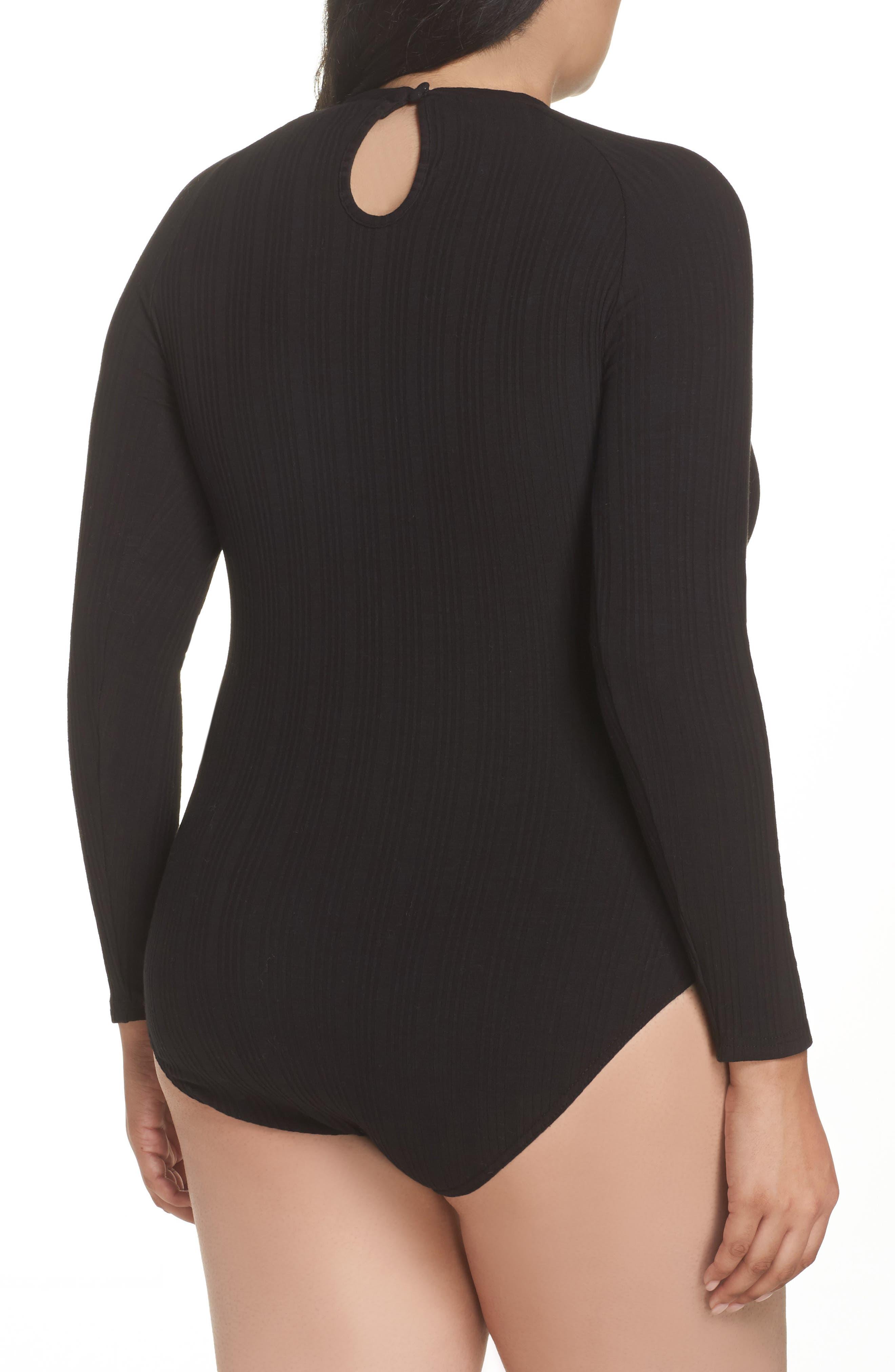 Ribbed Lace Trim Bodysuit,                             Alternate thumbnail 2, color,                             001