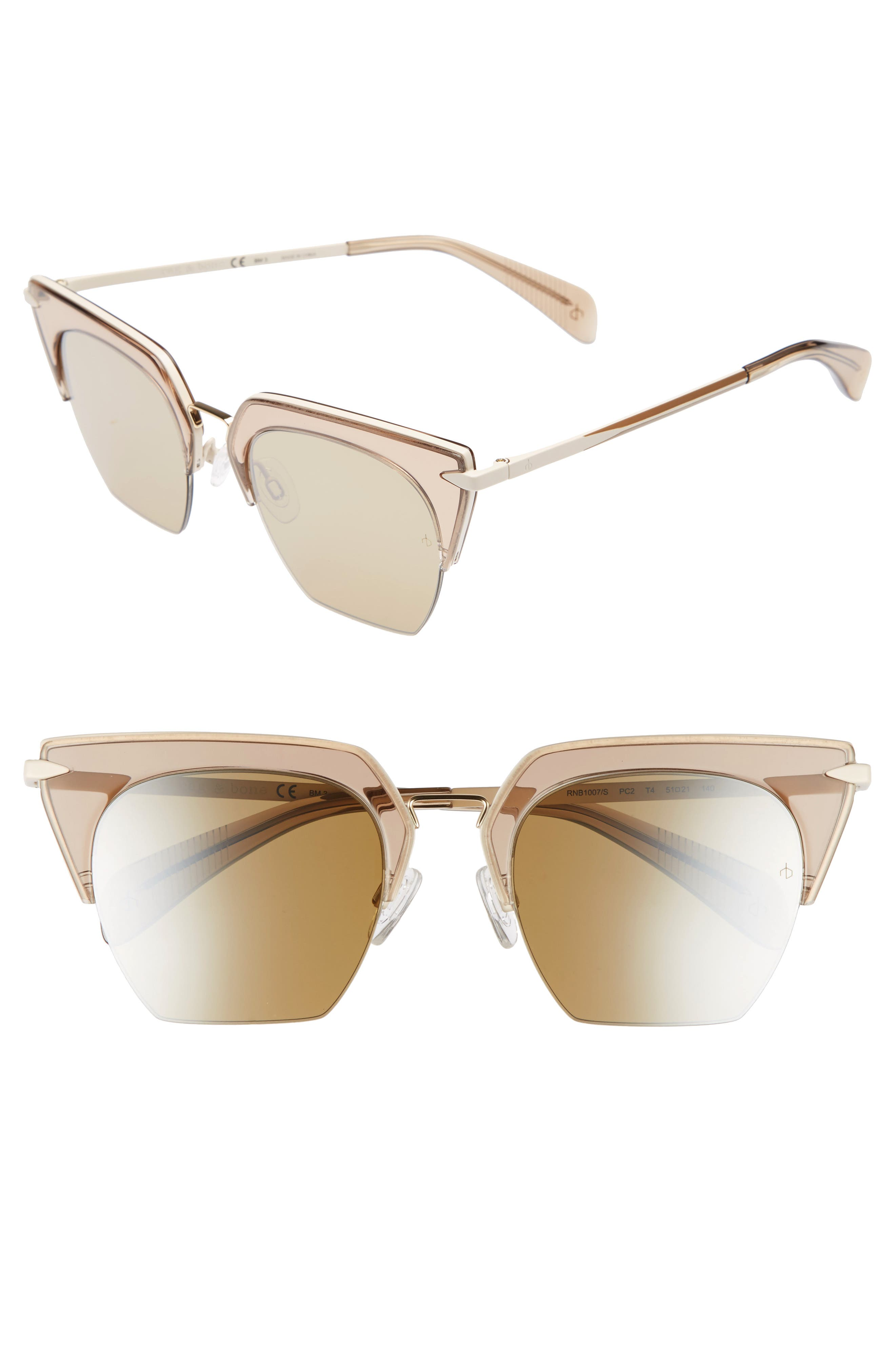 51mm Cat Eye Sunglasses,                             Main thumbnail 1, color,                             OPAL BROWN