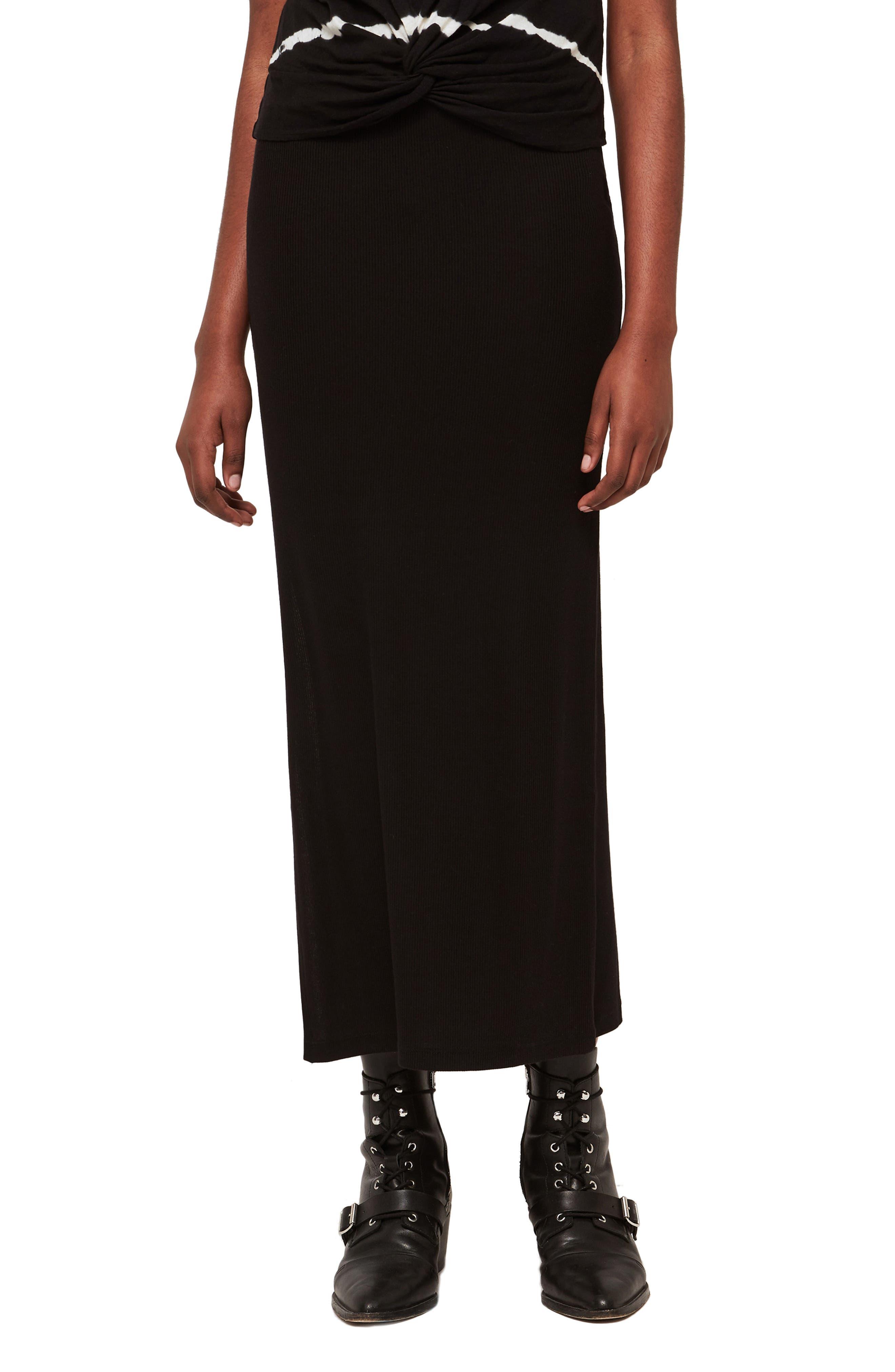 Allsaints Rina Maxi Skirt, Black