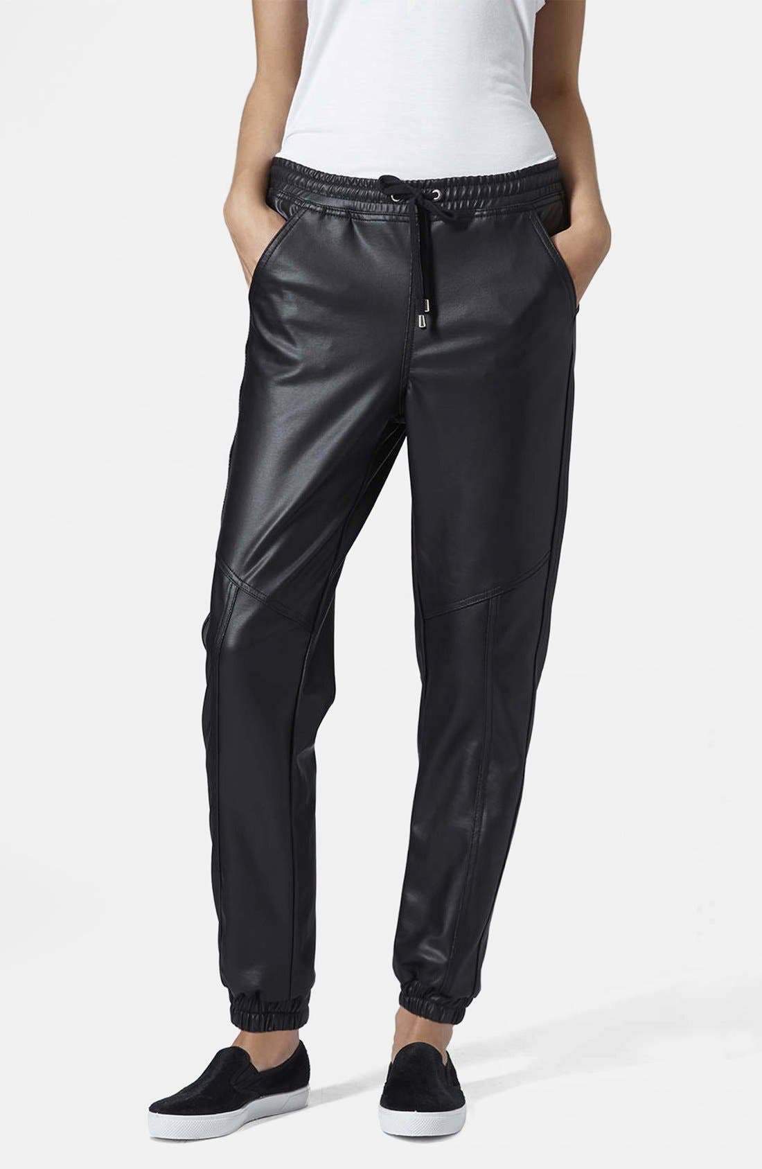 Paneled Faux Leather Joggers,                         Main,                         color, 001