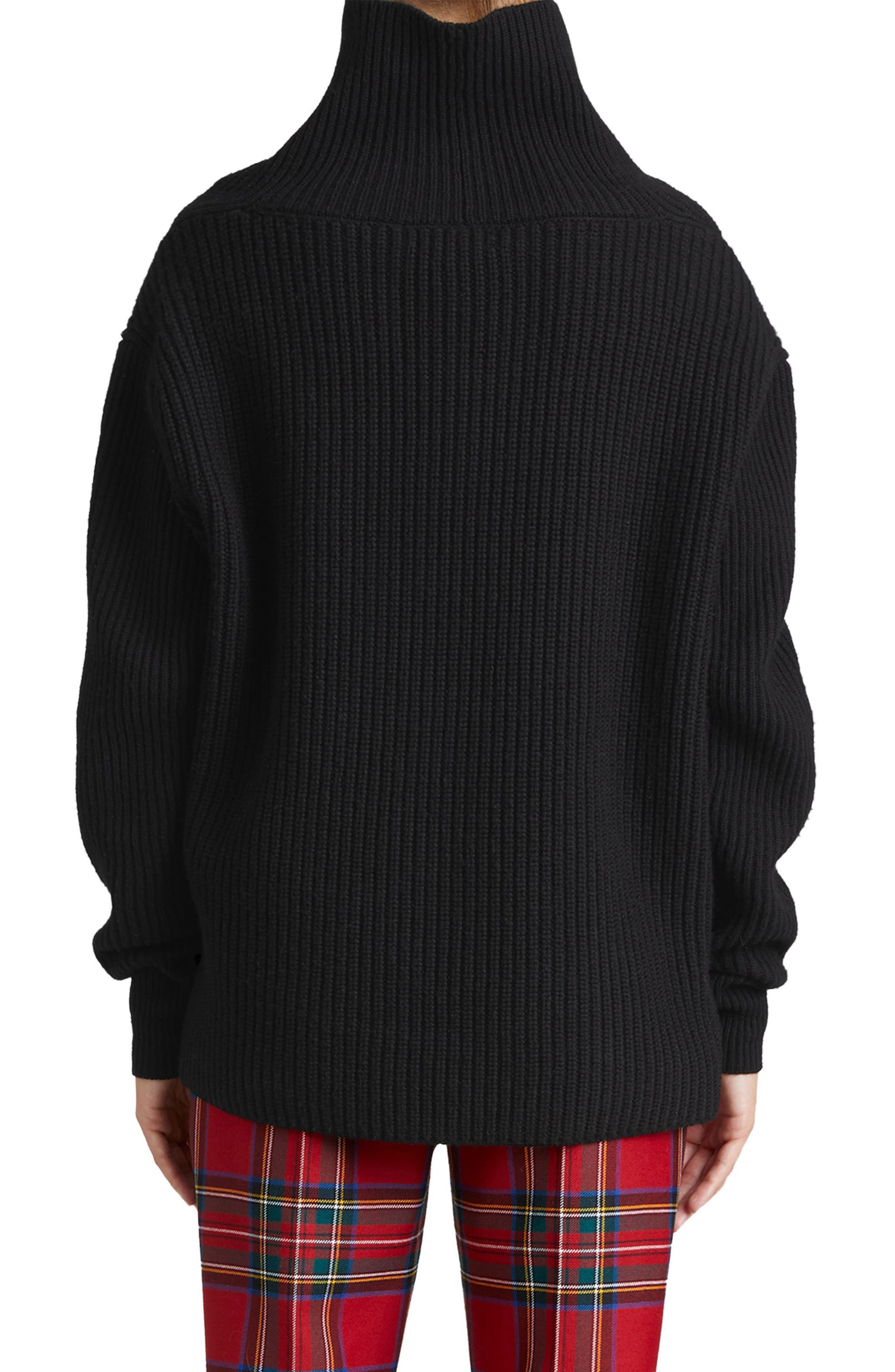 Fiora Check Wool & Cashmere Turtleneck Sweater,                             Alternate thumbnail 2, color,                             001