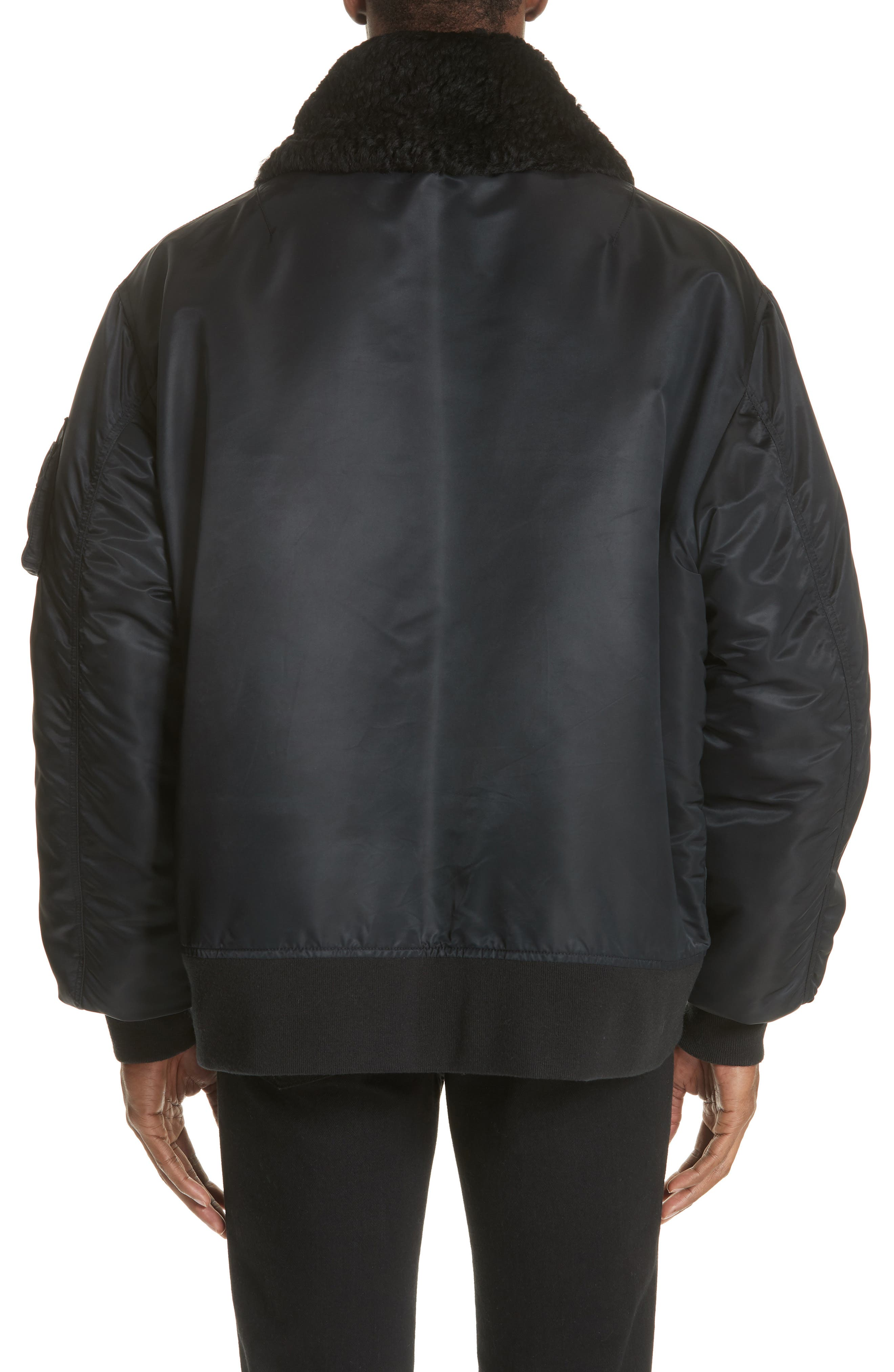 Oversize Bomber Jacket with Genuine Shearling Collar,                             Alternate thumbnail 2, color,                             BLACK