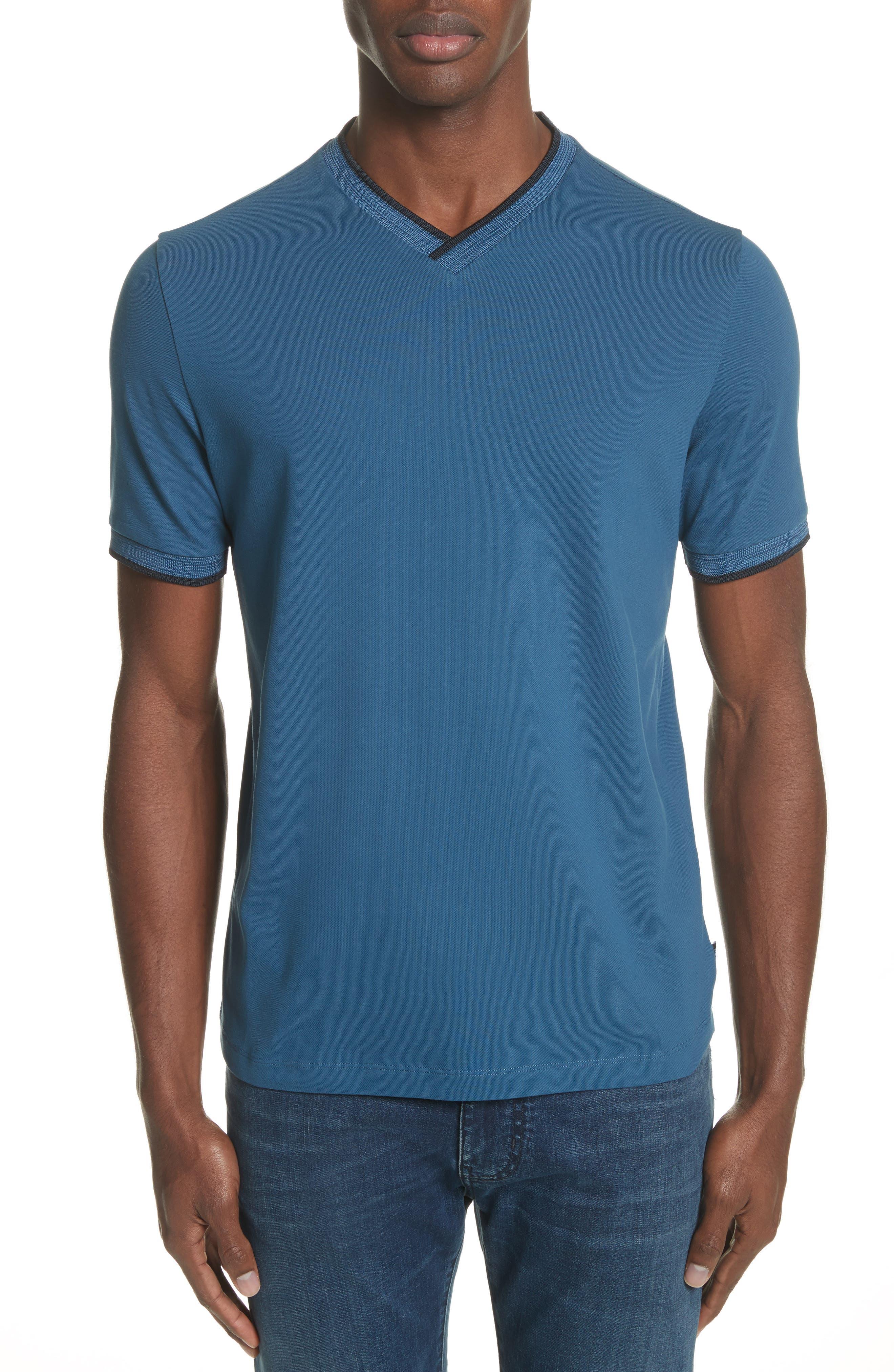 Slim Fit V-Neck Piqué T-Shirt,                             Main thumbnail 2, color,