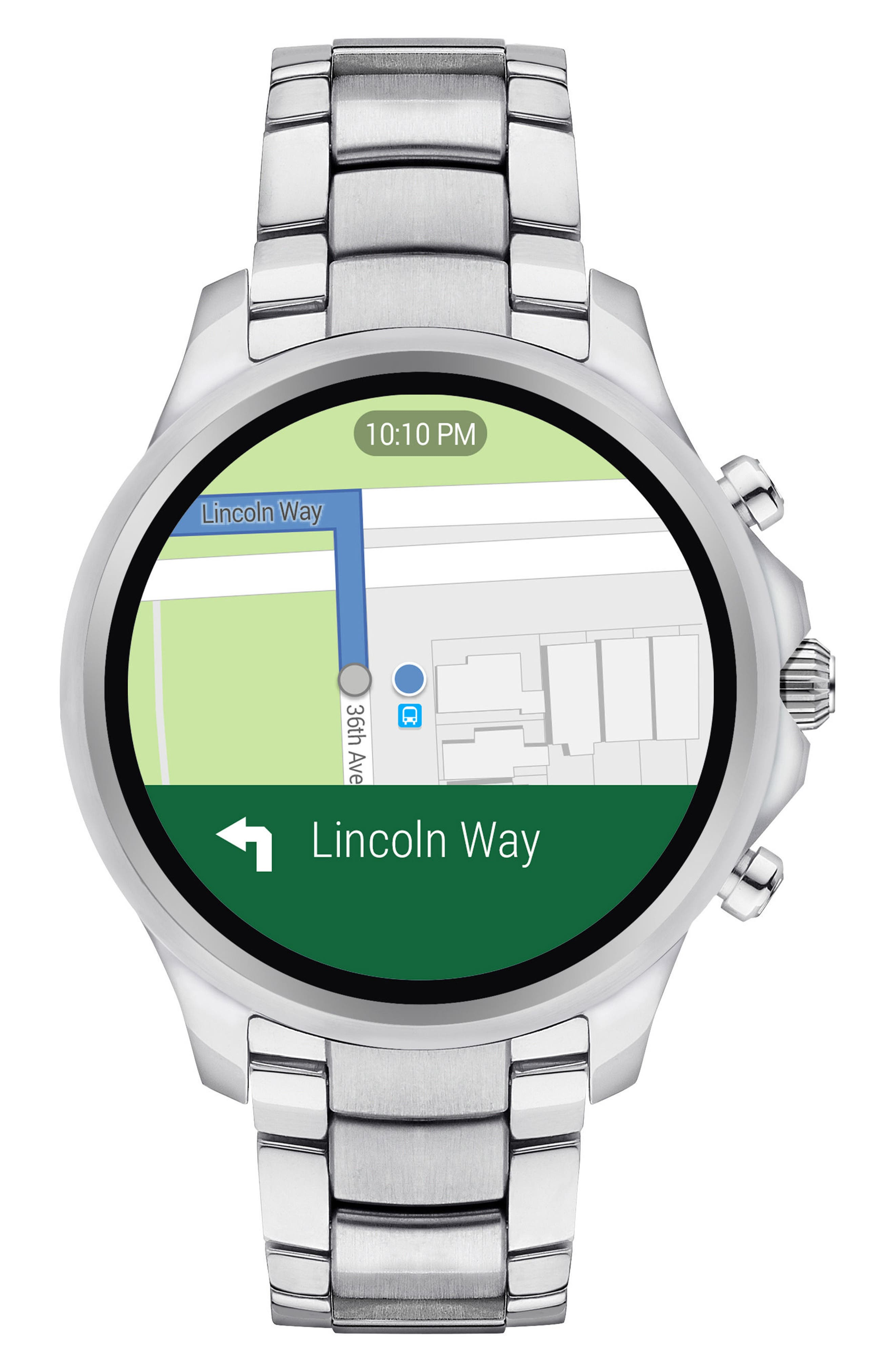 Touchscreen Bracelet Smartwatch, 46mm,                             Main thumbnail 1, color,                             BLACK/ SILVER