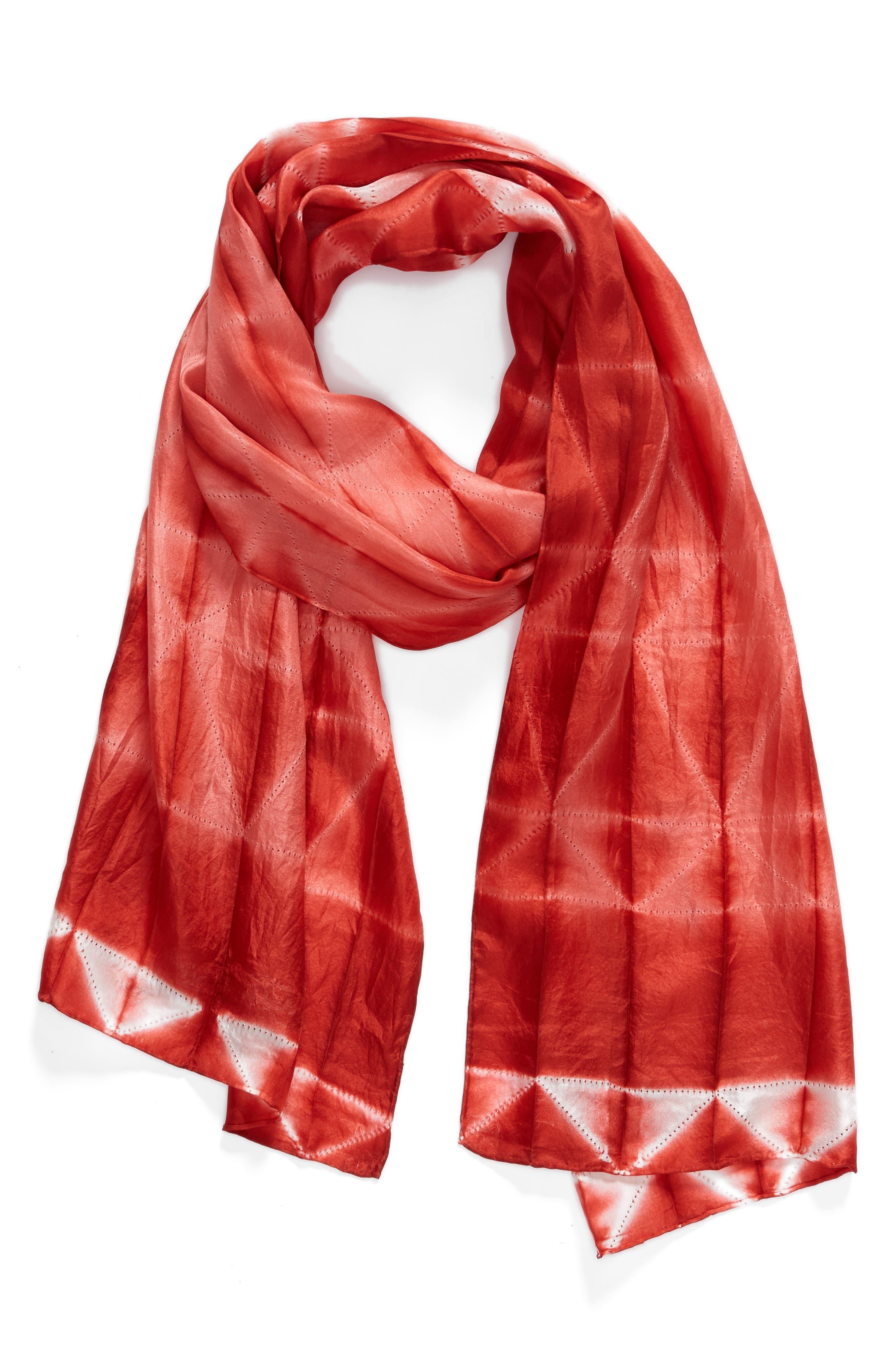 Tie Dye Silk Scarf,                             Alternate thumbnail 4, color,