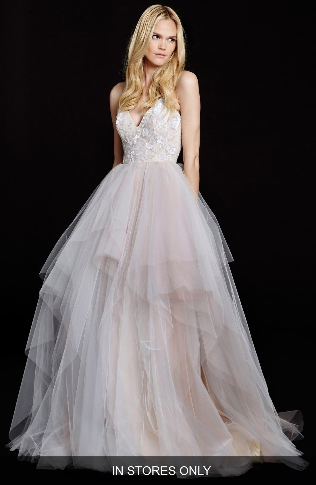 Nicoletta Floral Sequin Bodice Tiered Tulle Gown,                         Main,                         color, ALABASTER