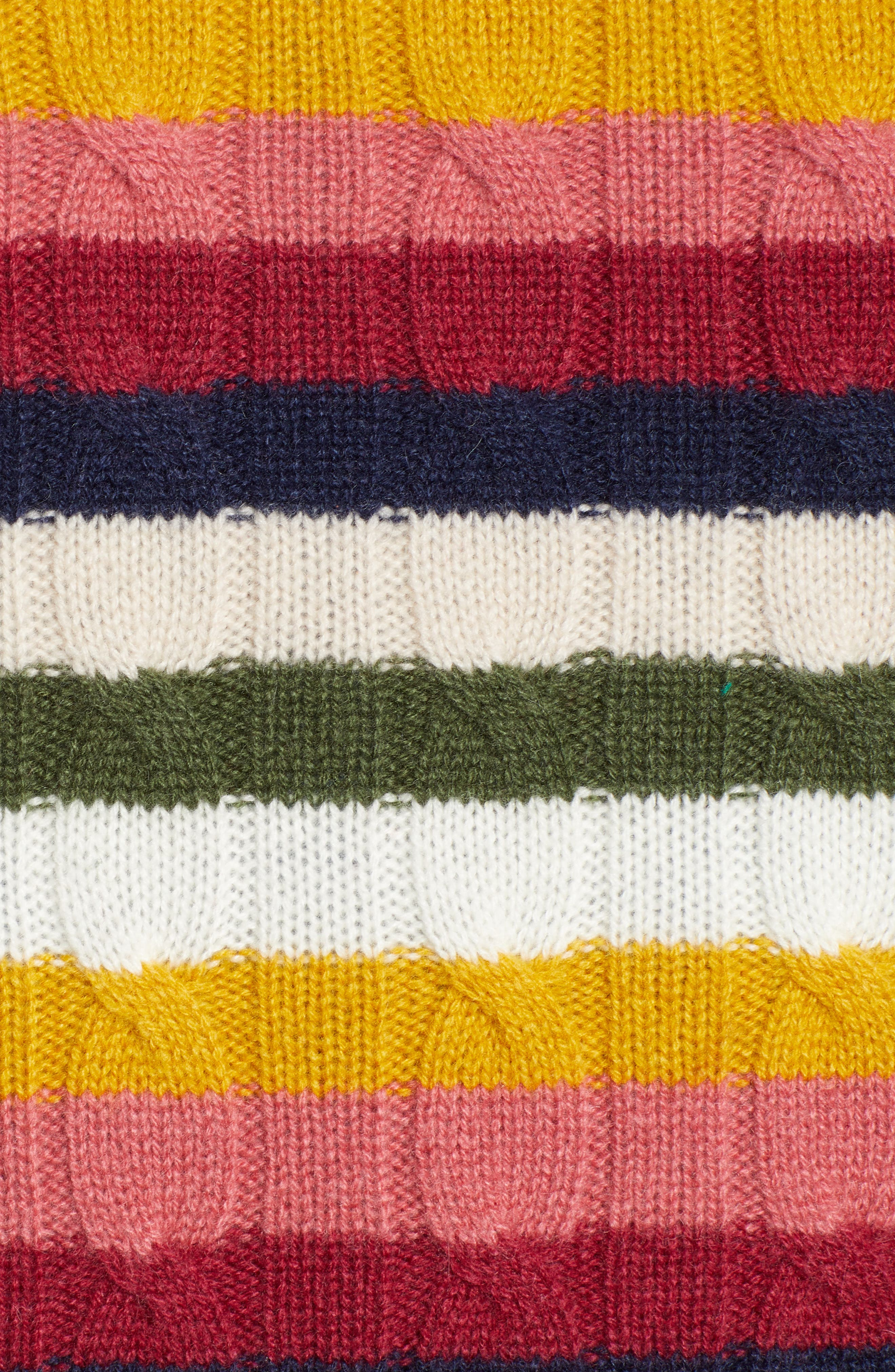 Cashmere Cable Sweater,                             Alternate thumbnail 5, color,                             RED MULTI HAPPY STRIPE