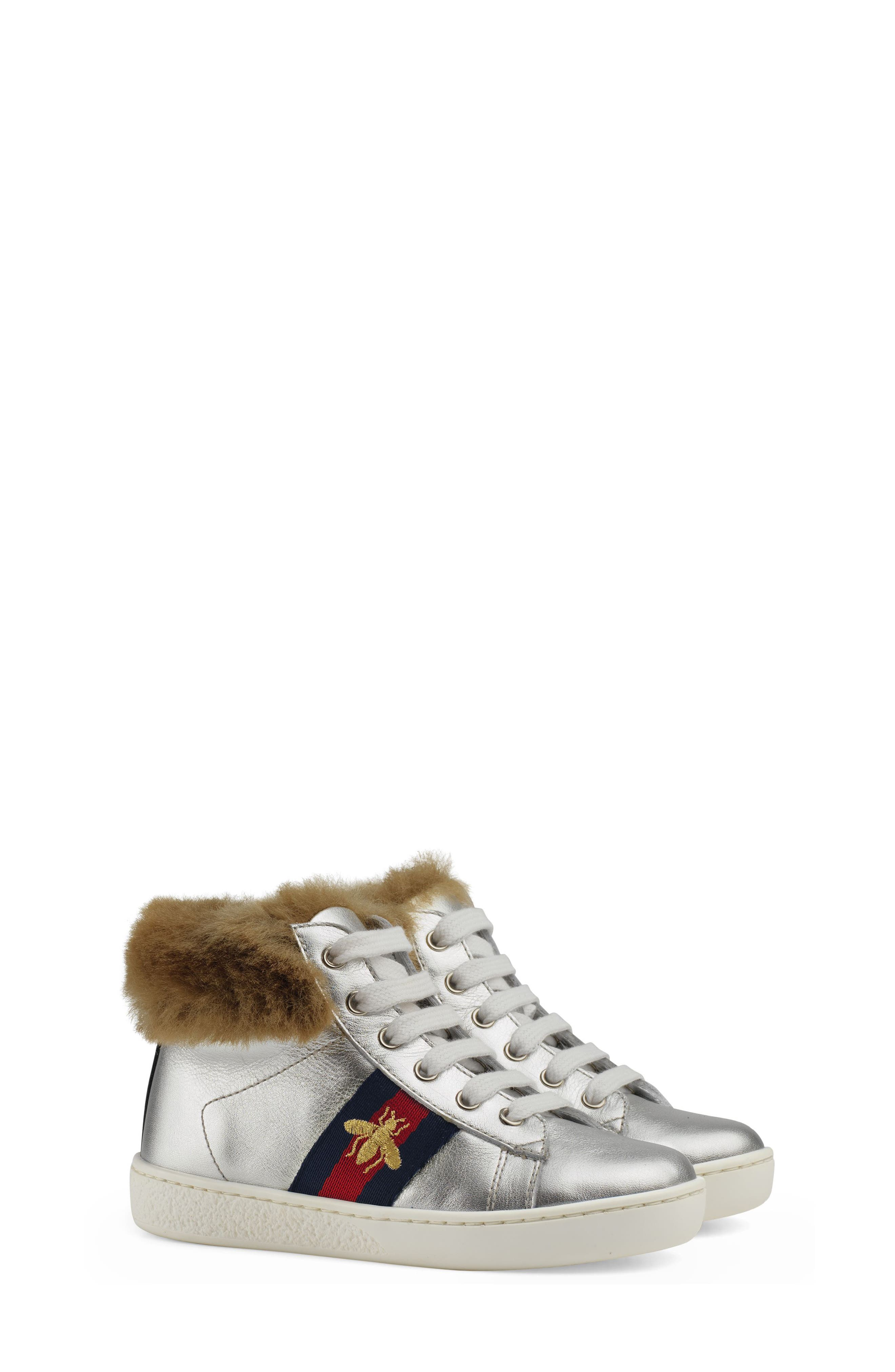 New Ace Faux Fur Trim High Top Sneaker,                         Main,                         color, METALLIC SILVER