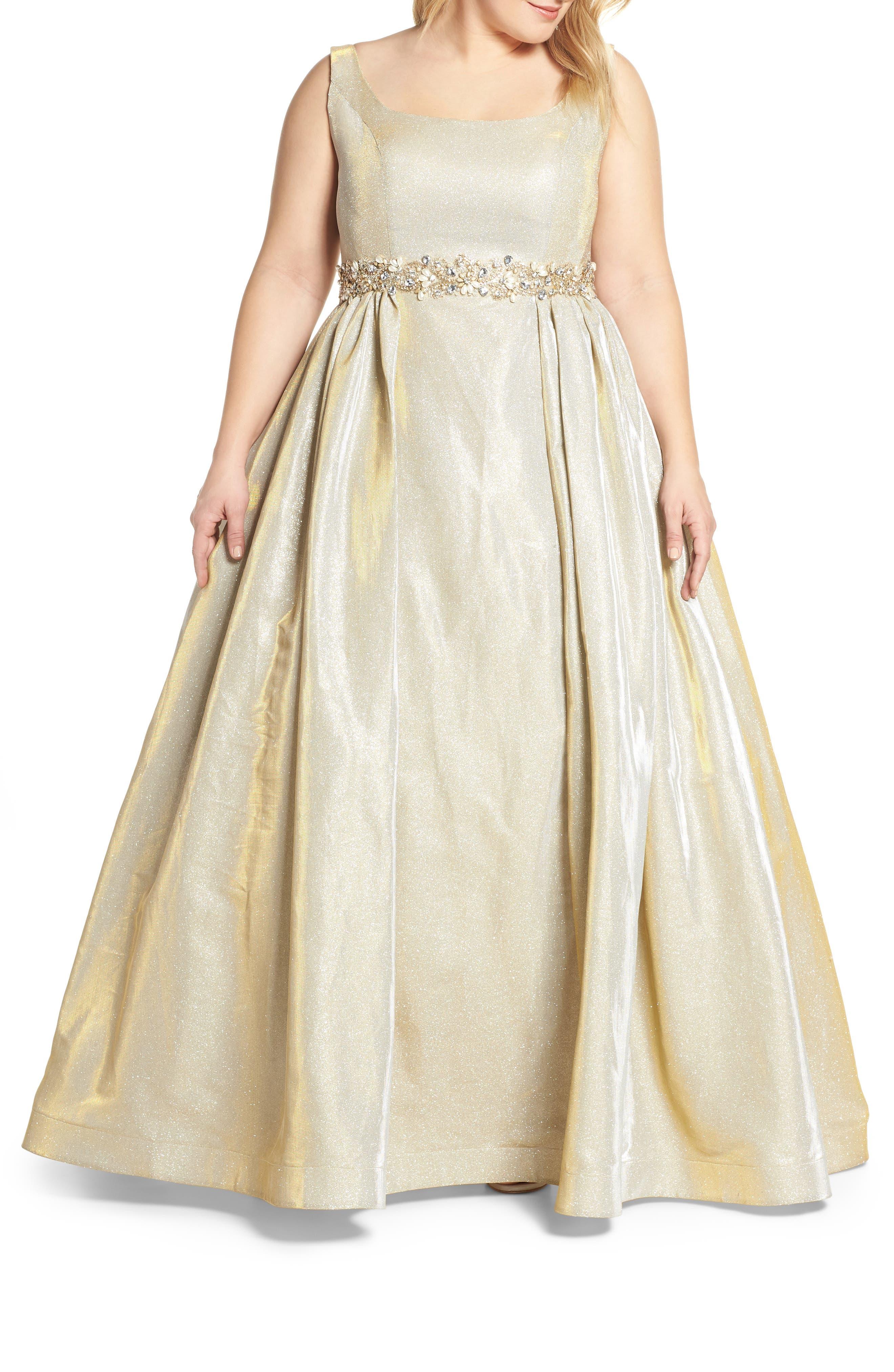 Plus Size MAC Duggal Jeweled Waist Metallic Evening Dress, Yellow