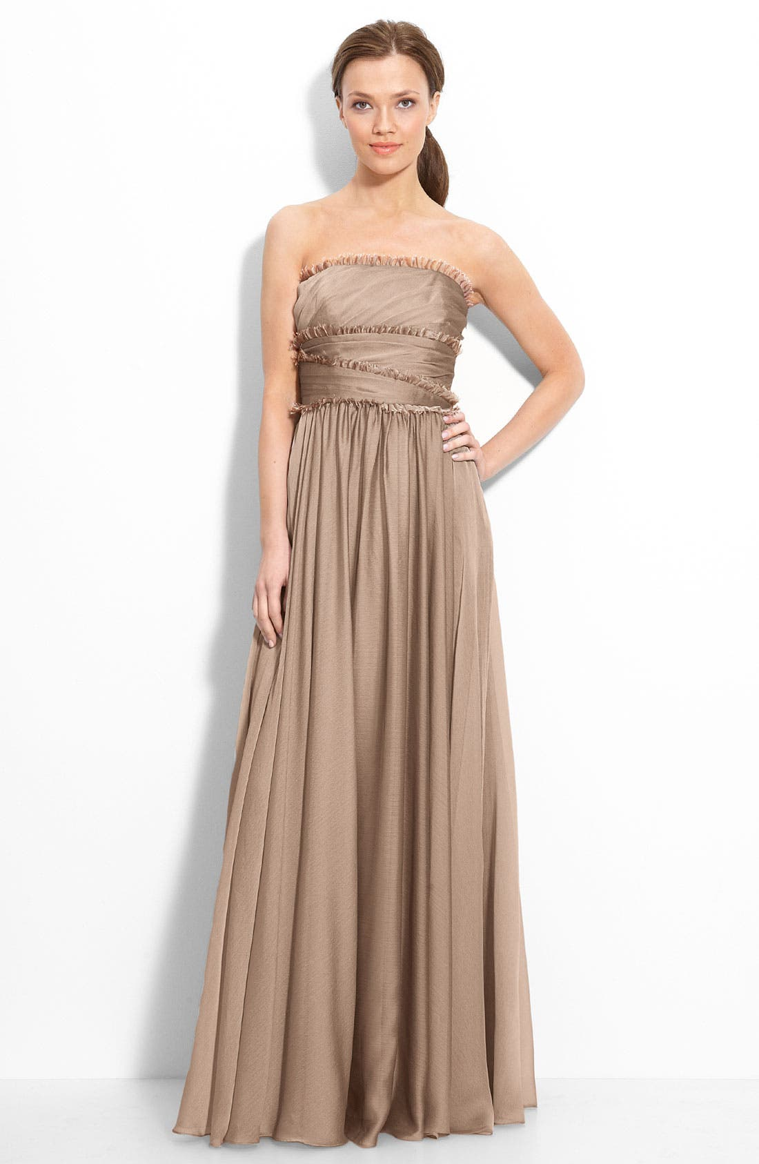 ML Monique Lhuillier Bridesmaids Strapless Chiffon Gown,                             Main thumbnail 4, color,