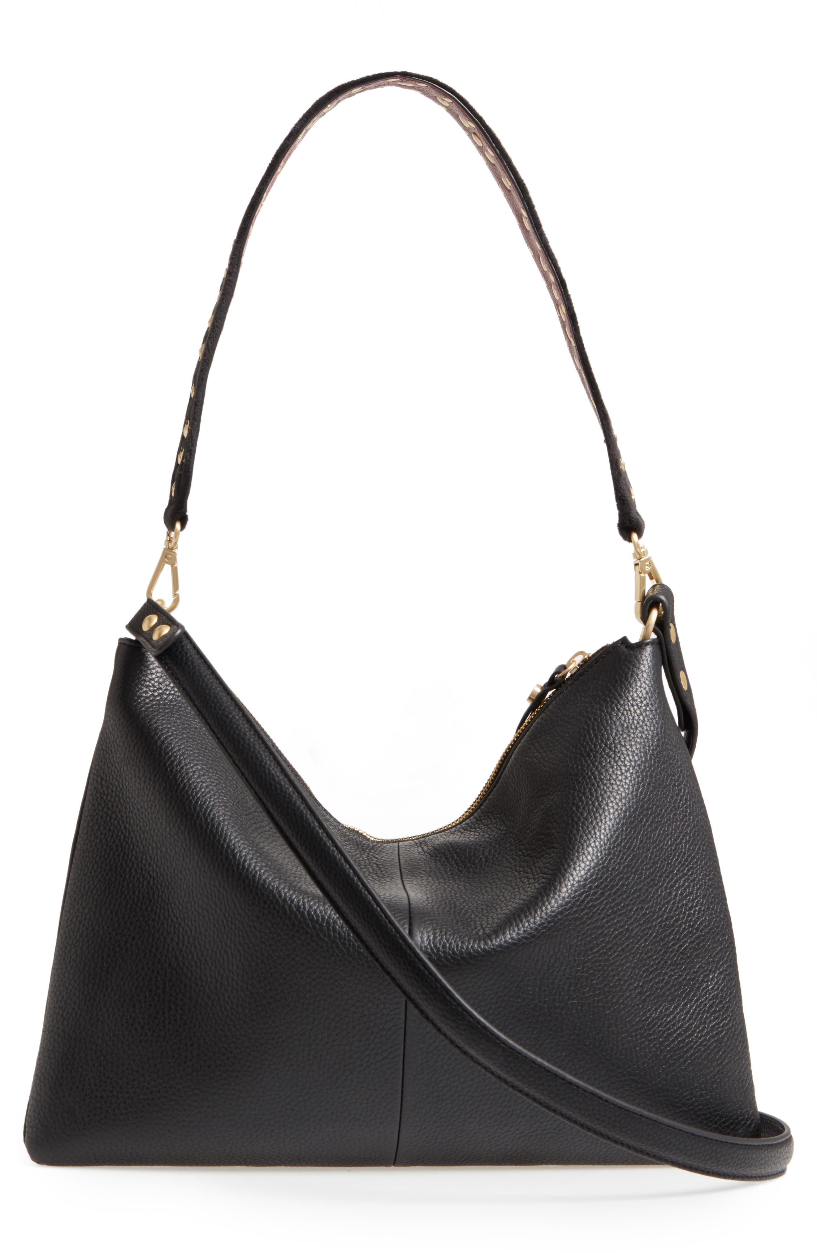 Raelyn Leather Shoulder Bag,                             Alternate thumbnail 3, color,                             001