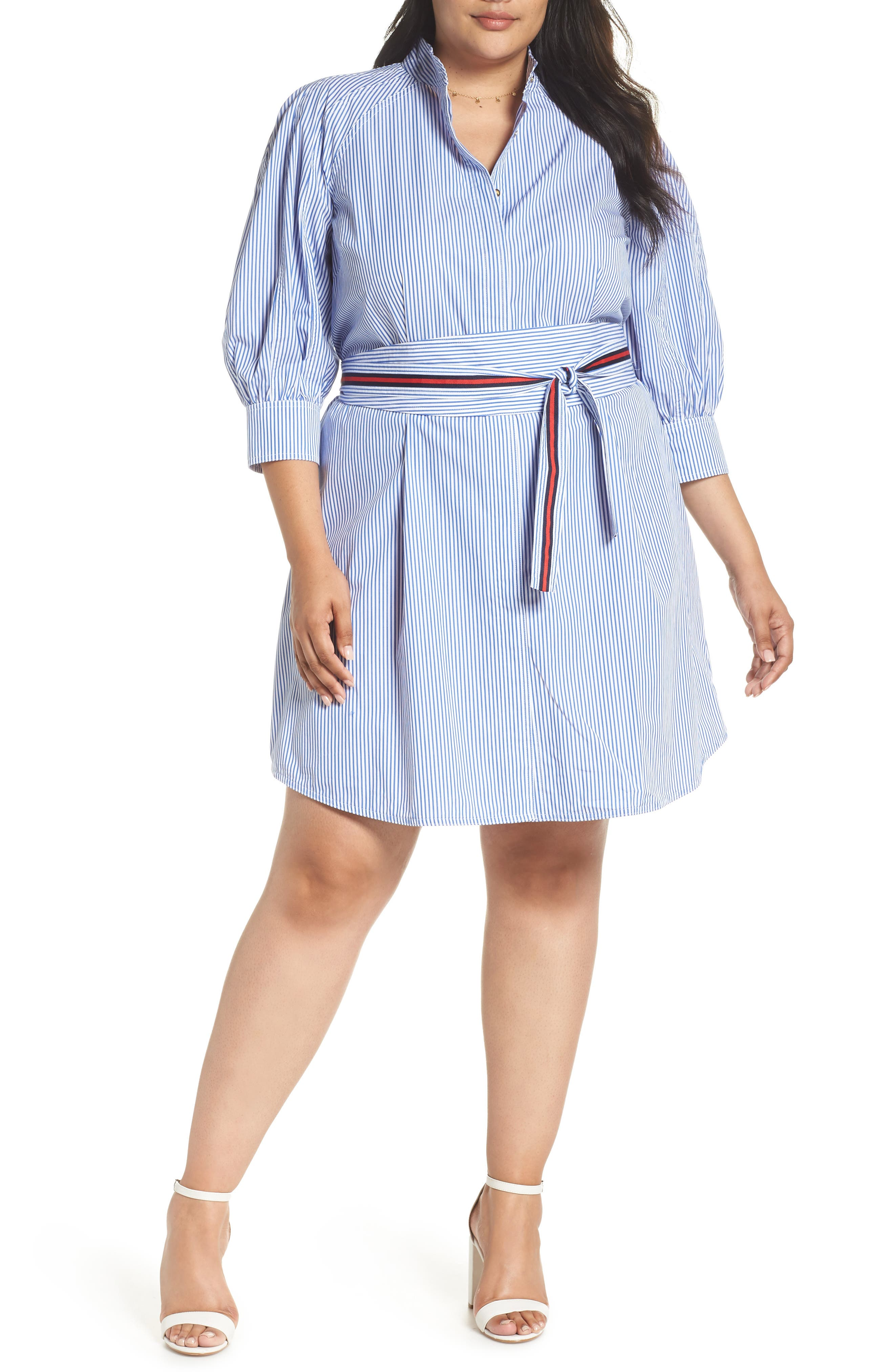 Stripe Tie Waist Shirtdress,                             Alternate thumbnail 2, color,                             420