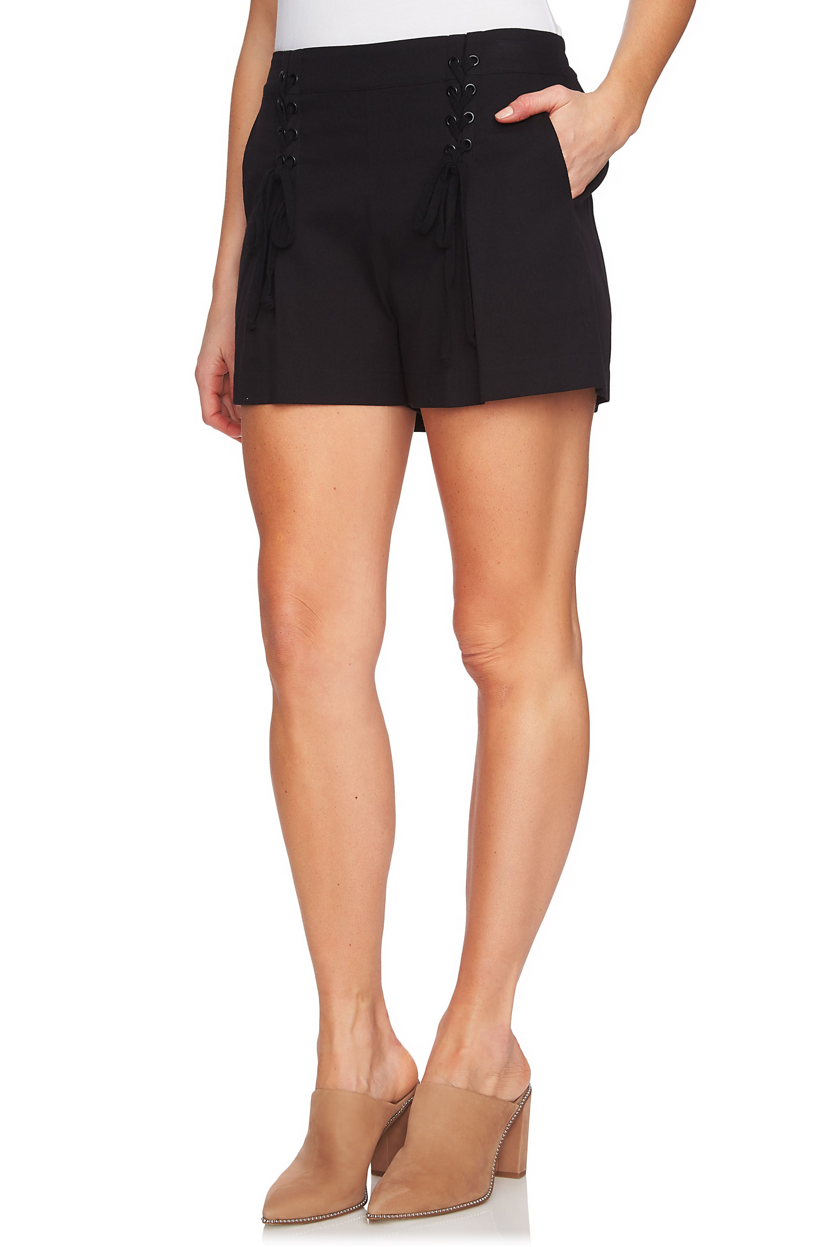 Lace-Up Detail Flat Front Shorts,                             Alternate thumbnail 3, color,                             001