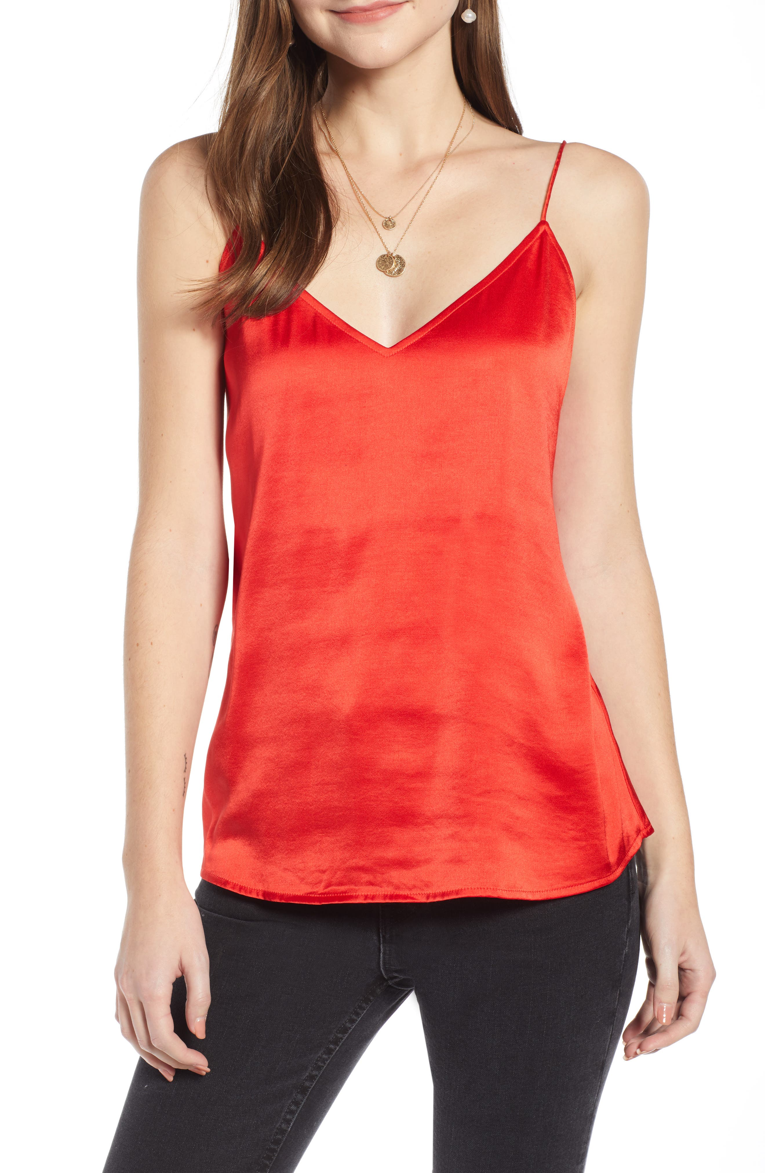 Something Navy Delicate Camisole, Red