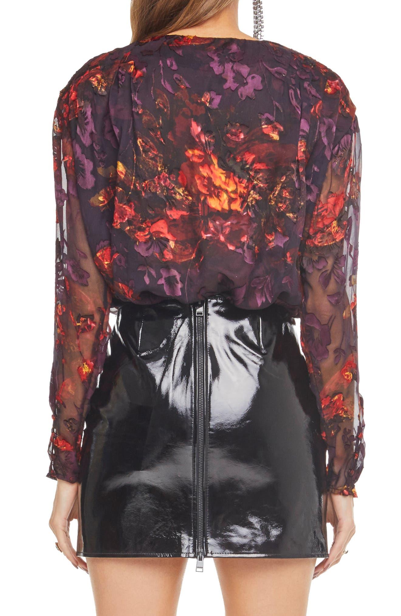 Maren Surplice Bodysuit,                             Alternate thumbnail 2, color,                             PLUM/ RED FLORAL