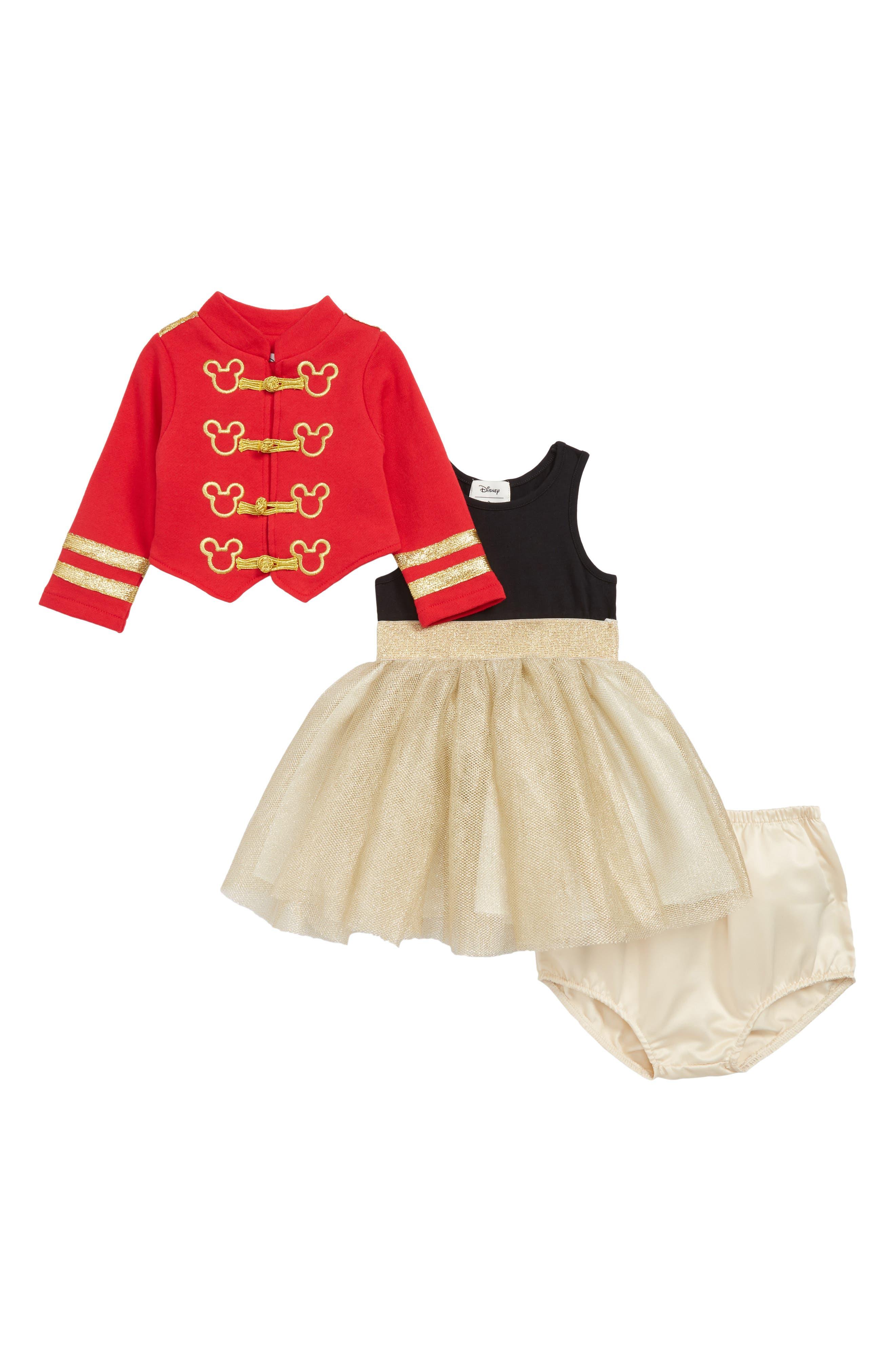x Disney Mickey Majorette Jacket & Mesh Dress Set,                             Main thumbnail 1, color,                             RED/ GOLD