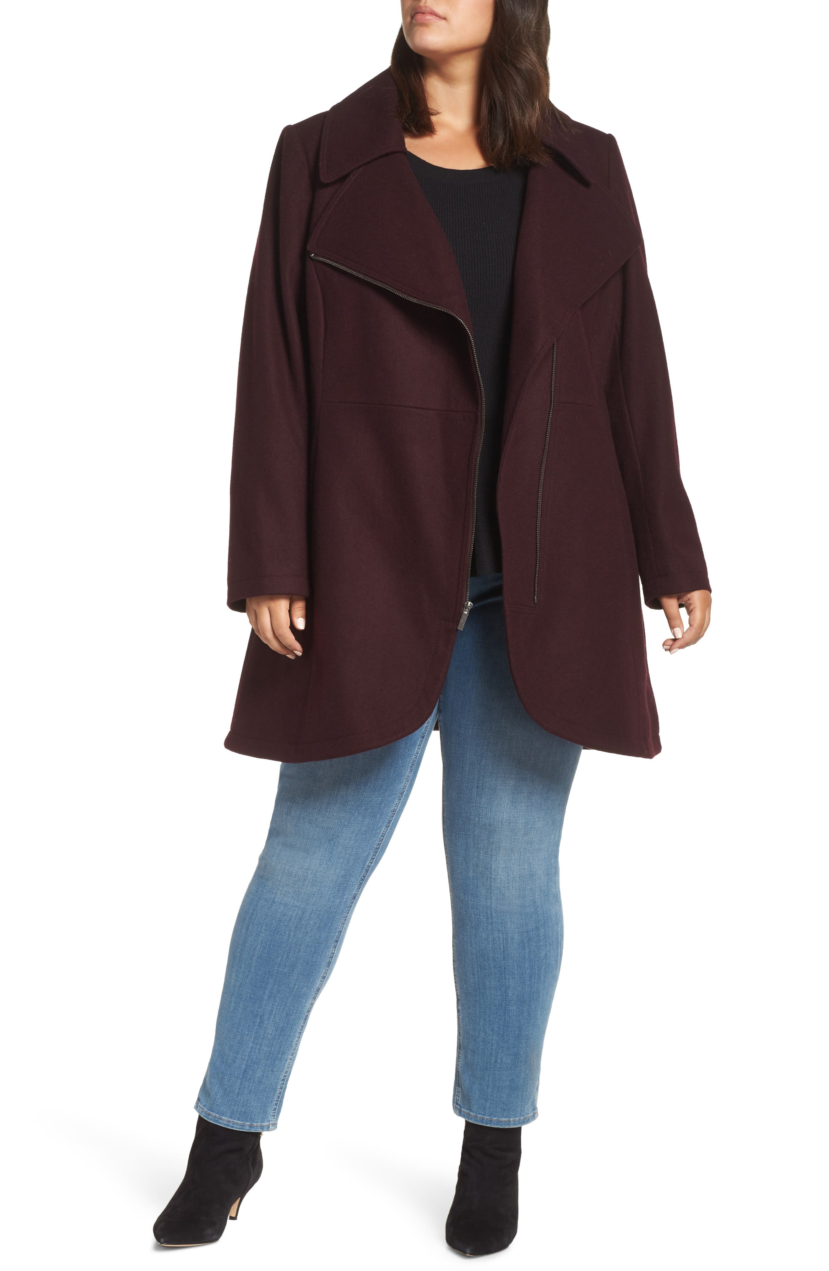 Asymmetrical Zip Wool Blend Coat,                         Main,                         color, WINE