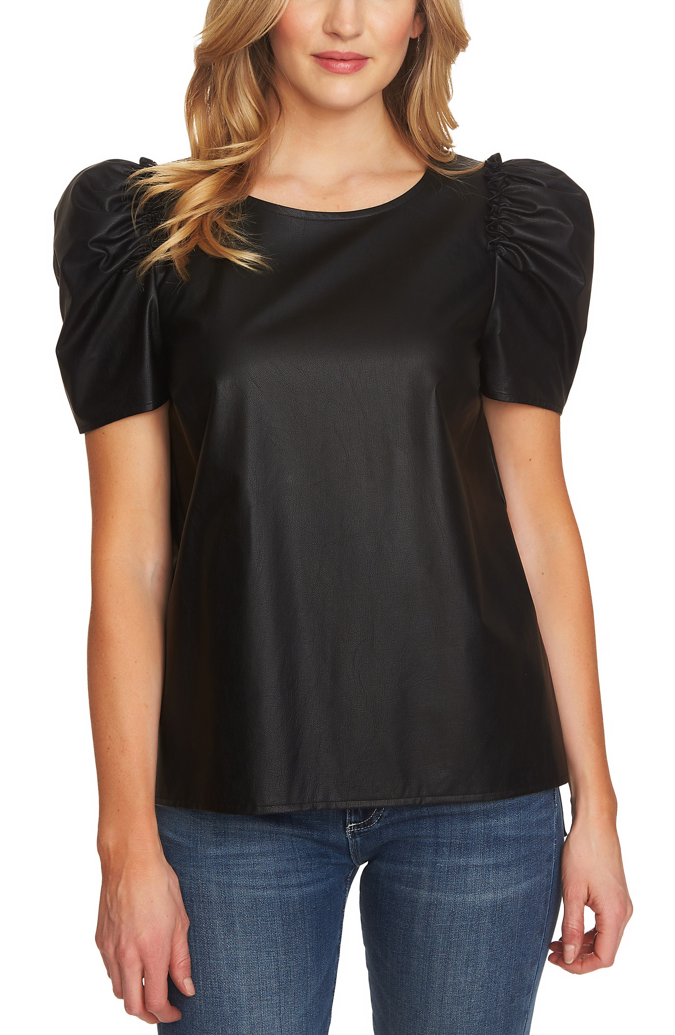 Puff Sleeve Faux Leather Top,                             Main thumbnail 1, color,                             RICH BLACK
