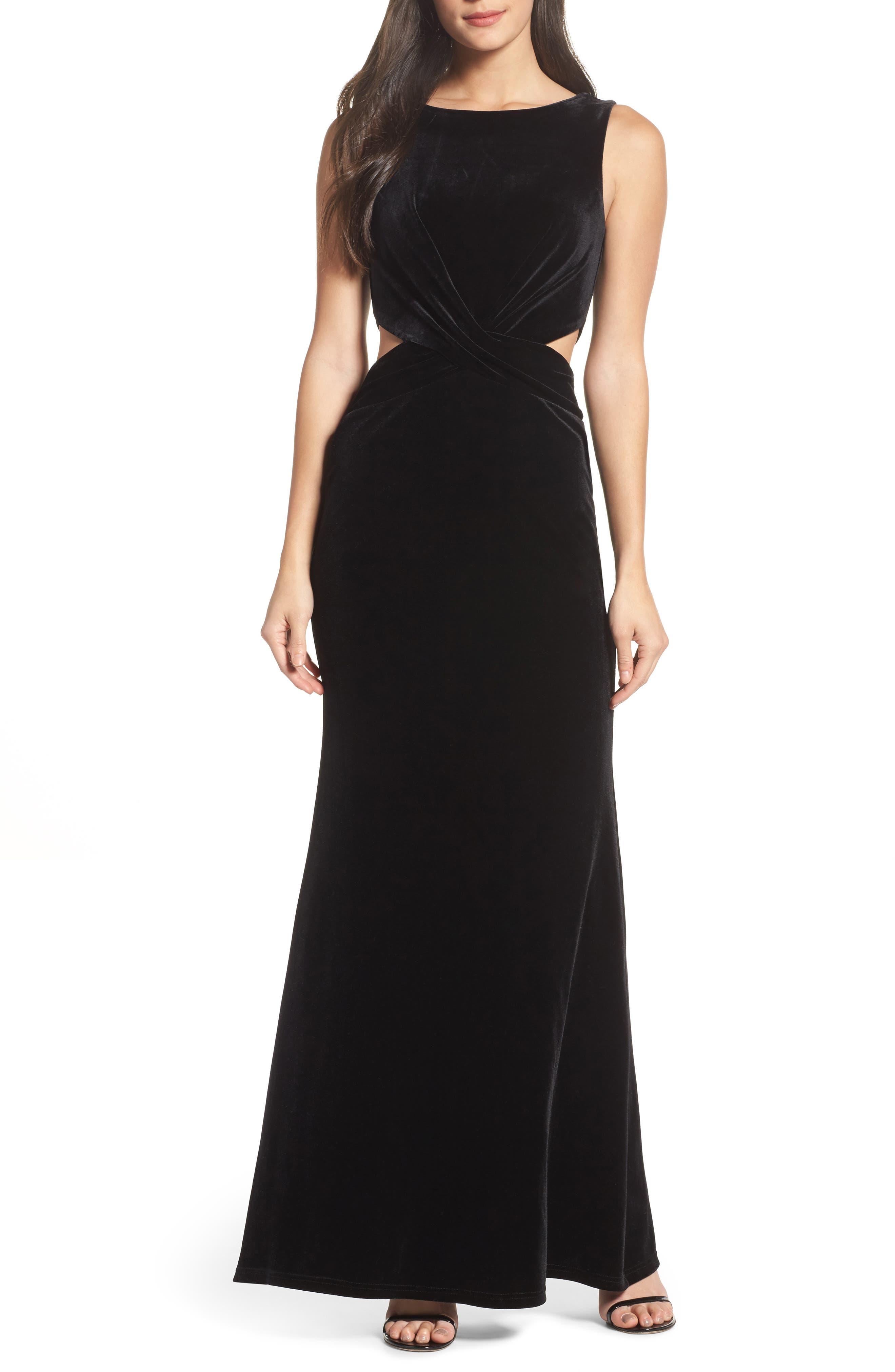 Reach Out Velvet Maxi Dress,                         Main,                         color, 001