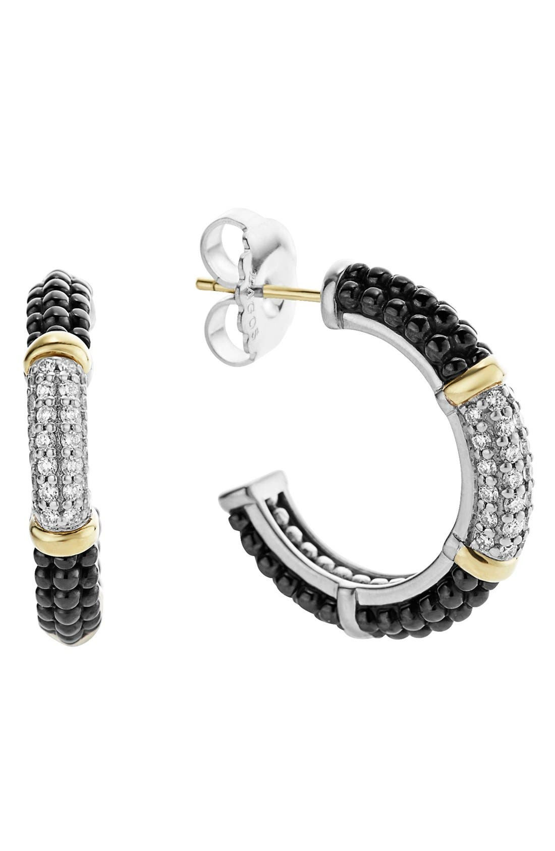 'Black & White Caviar' Diamond Hoops,                         Main,                         color, BLACK/ GOLD