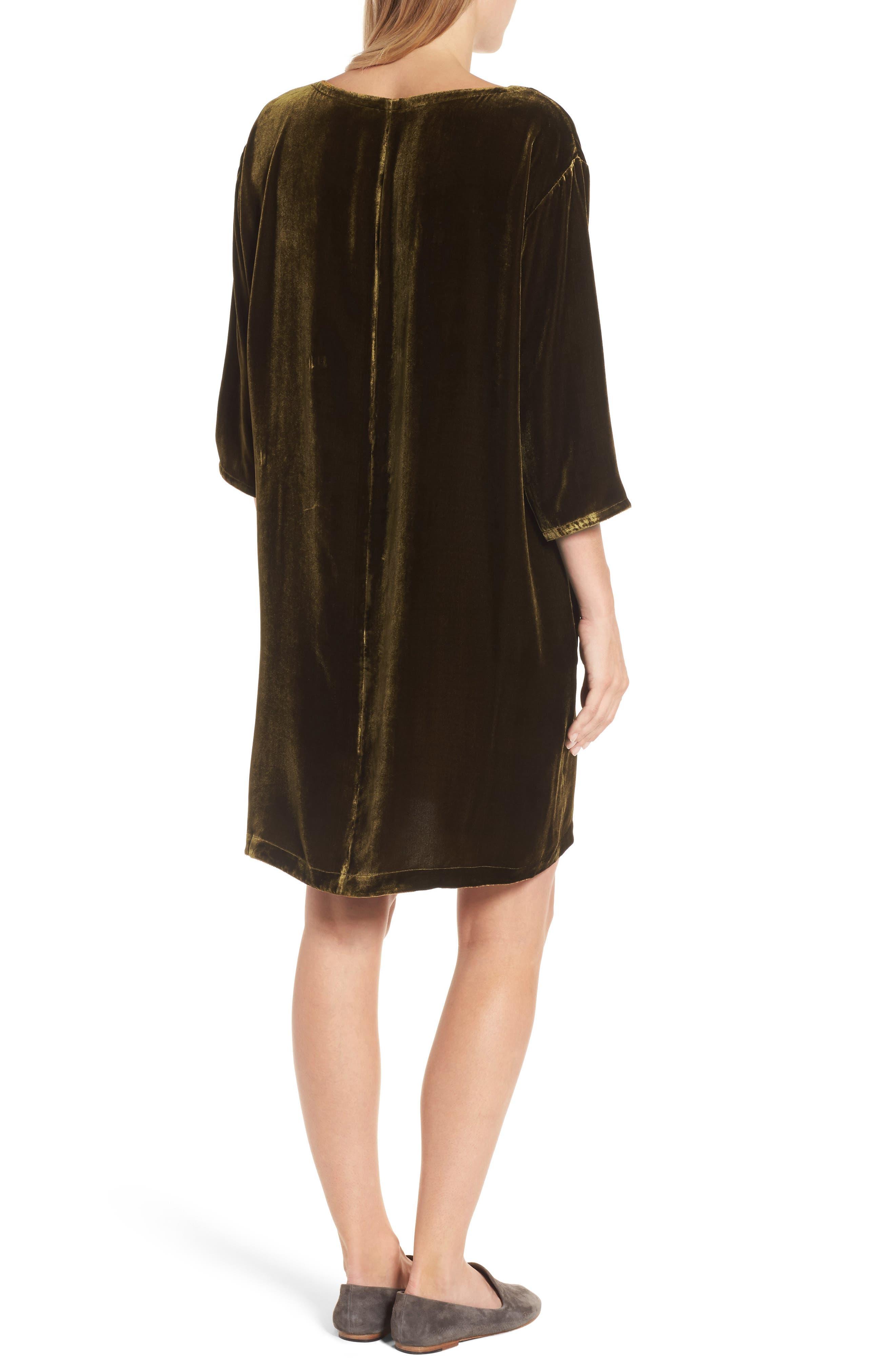Velvet Shift Dress,                             Alternate thumbnail 2, color,                             342