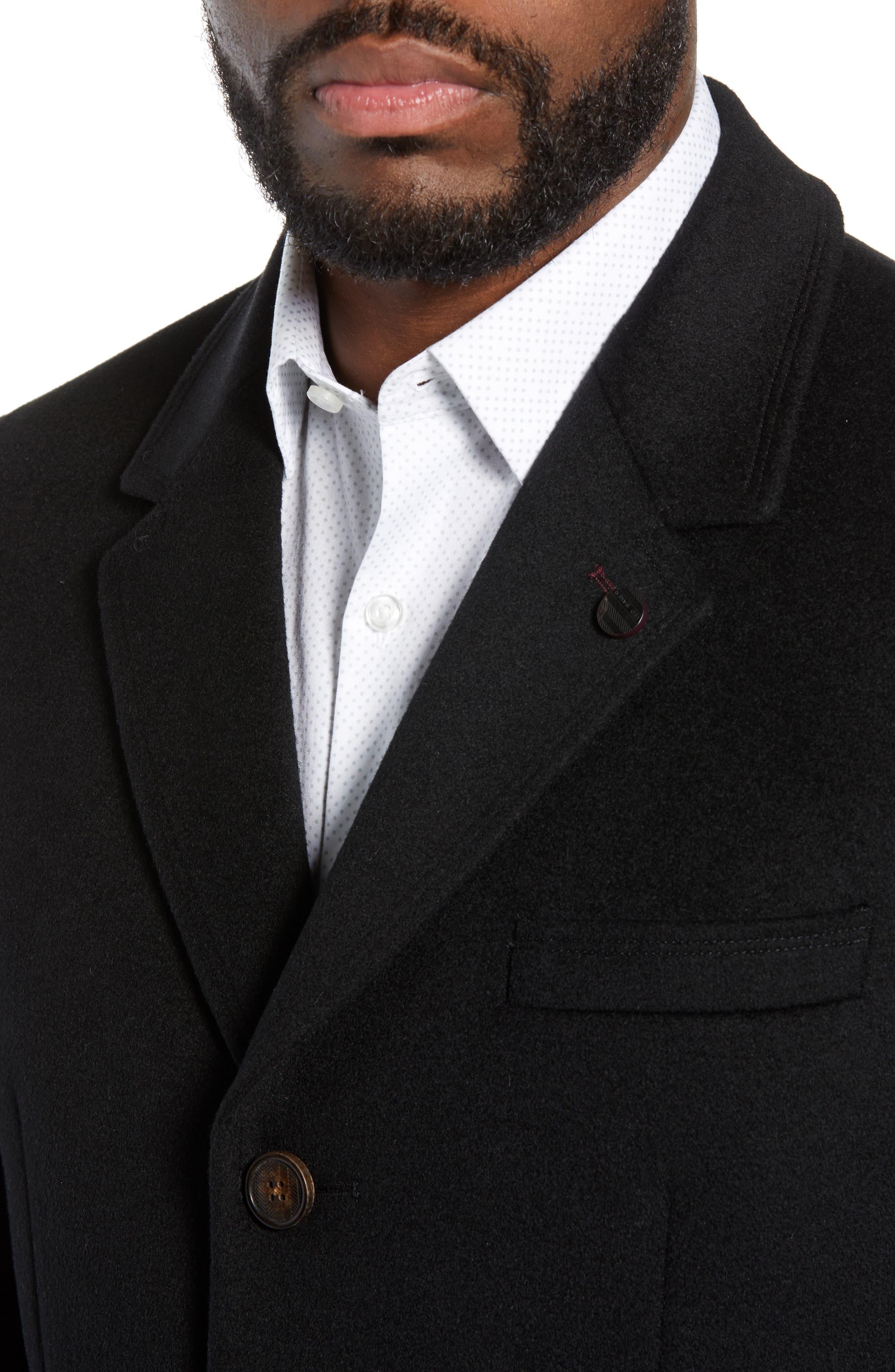 Swish Wool & Cashmere Overcoat,                             Alternate thumbnail 4, color,                             001