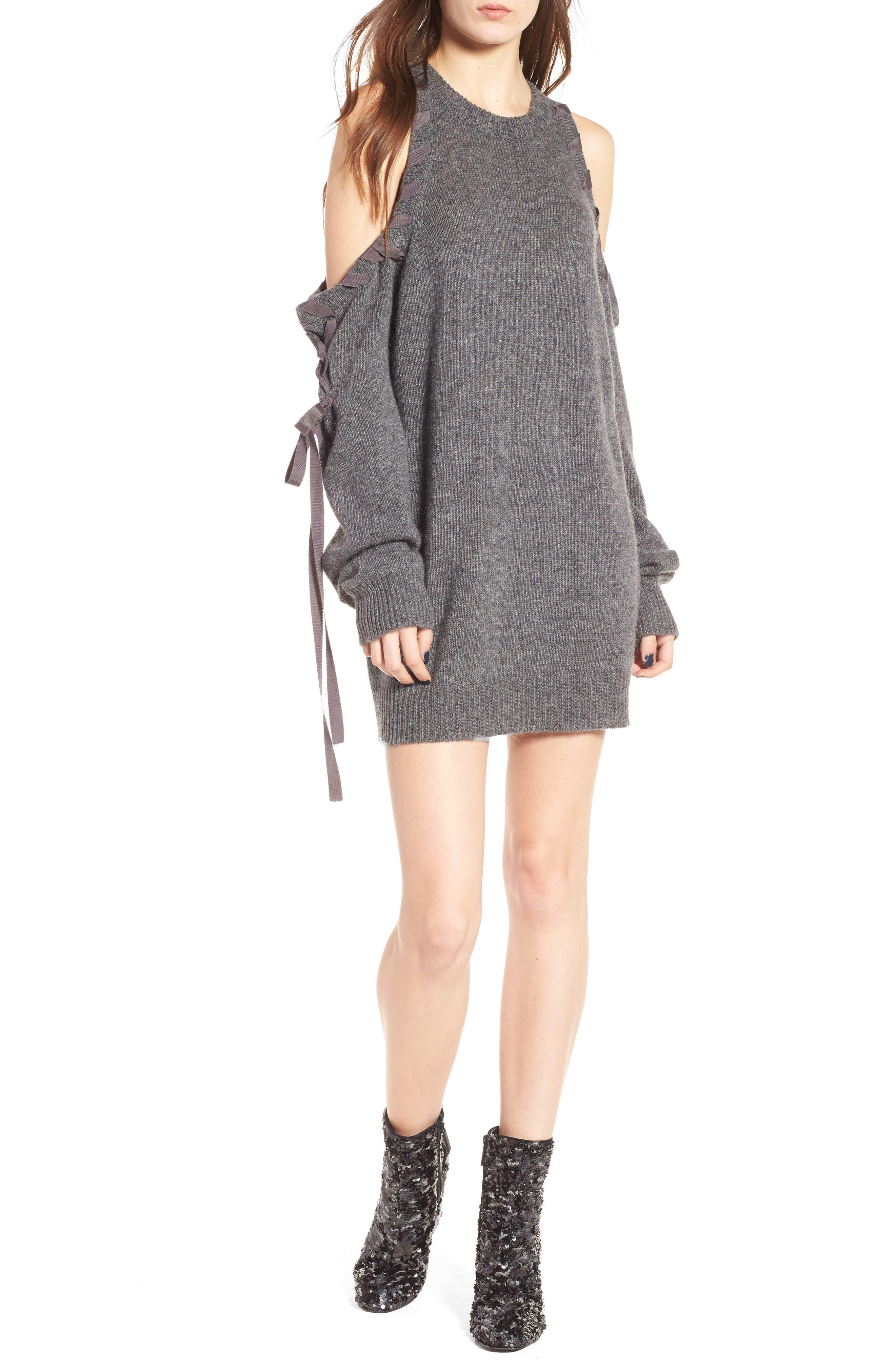 Lace-Up Cold Shoulder Minidress,                             Alternate thumbnail 4, color,                             030