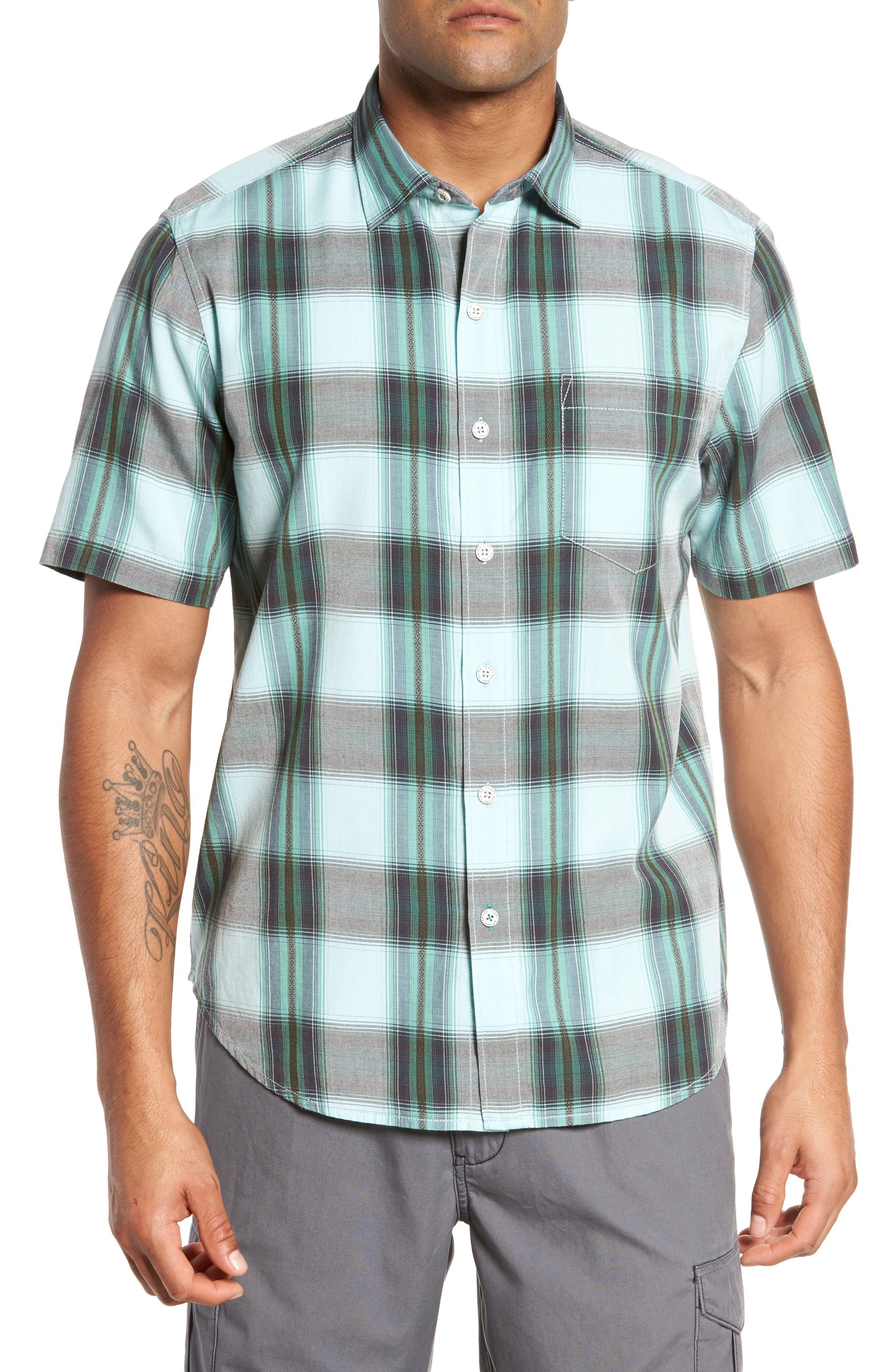 Biscayne Plaid Regular Fit Sport Shirt,                         Main,                         color, 350