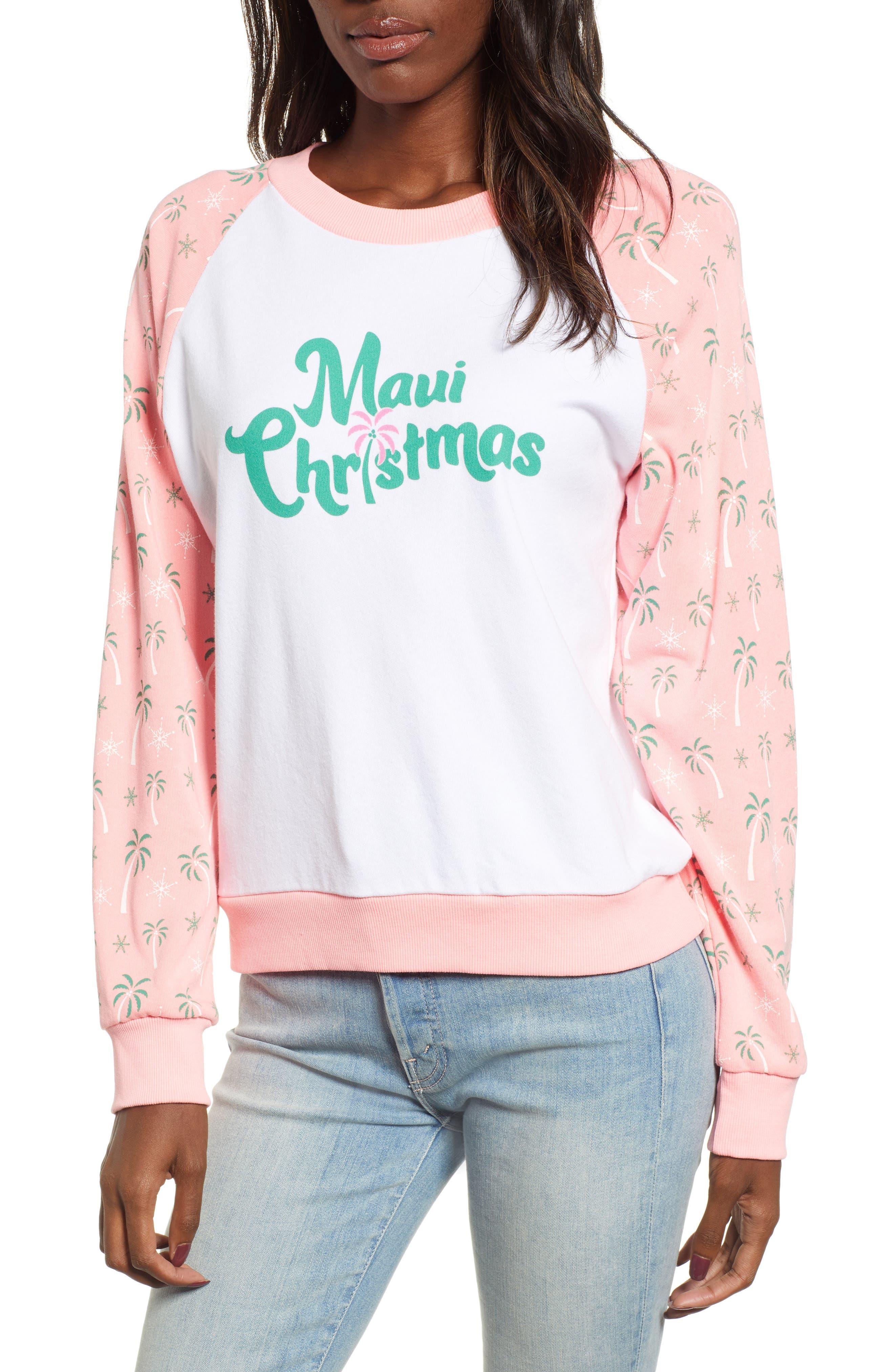 Maui Christmas Fiona Sweatshirt,                             Main thumbnail 1, color,                             CLEAN WHITE NEON SIGN