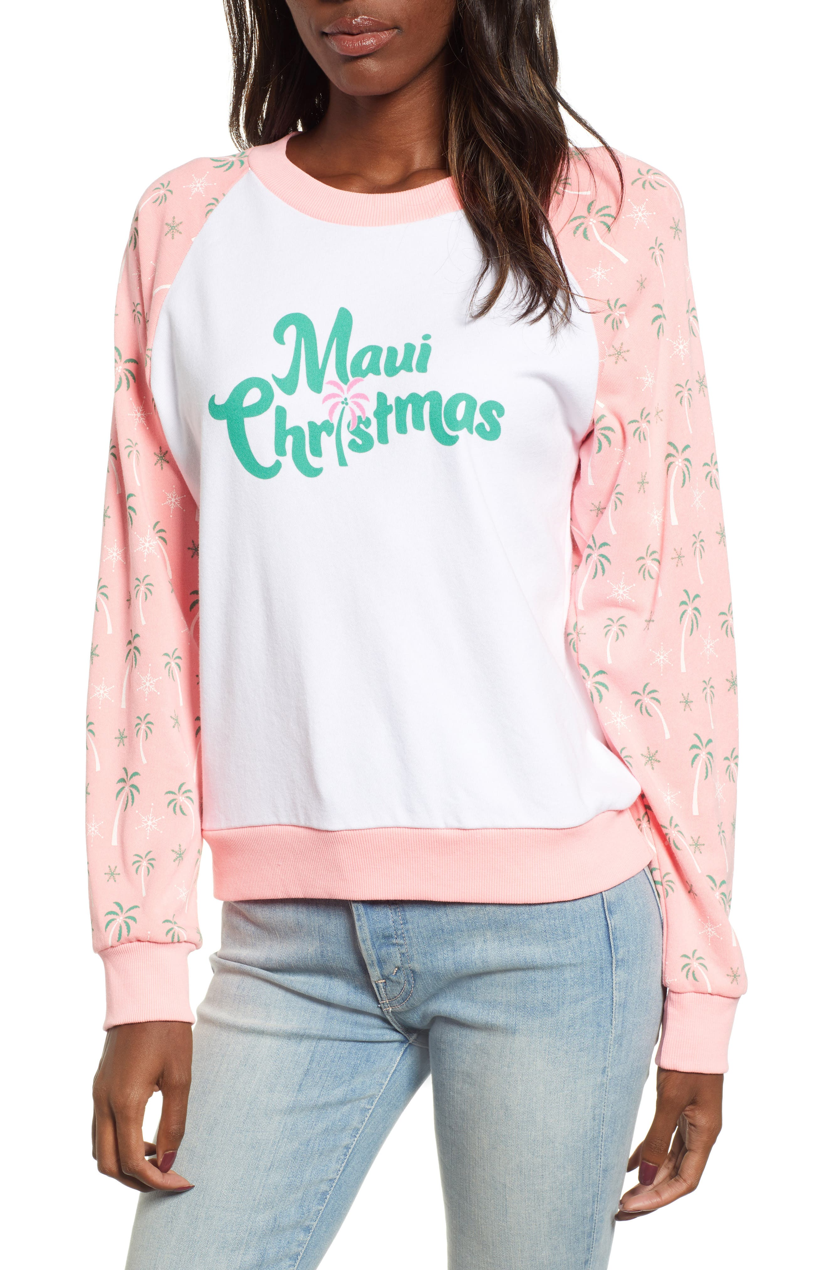 Maui Christmas Fiona Sweatshirt,                         Main,                         color, CLEAN WHITE NEON SIGN