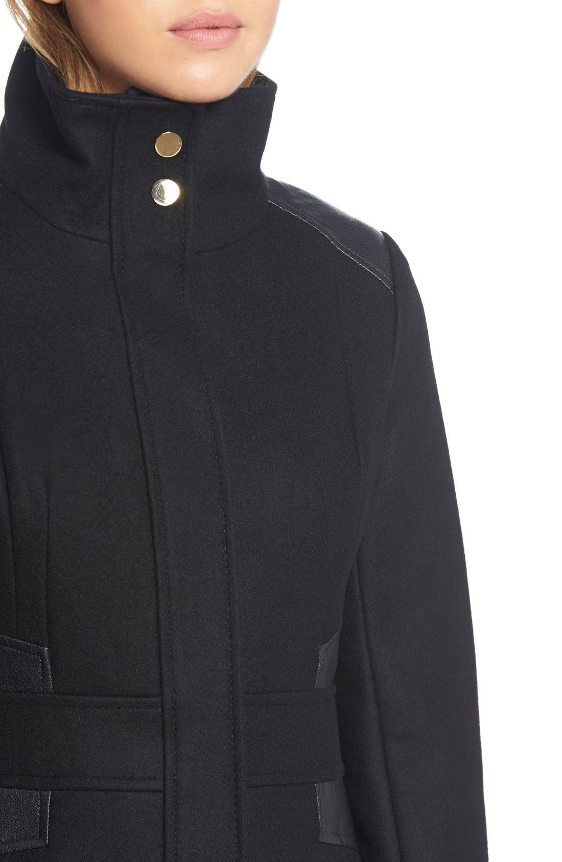 Wool Blend Coat with Faux Leather Trim,                             Alternate thumbnail 5, color,                             001