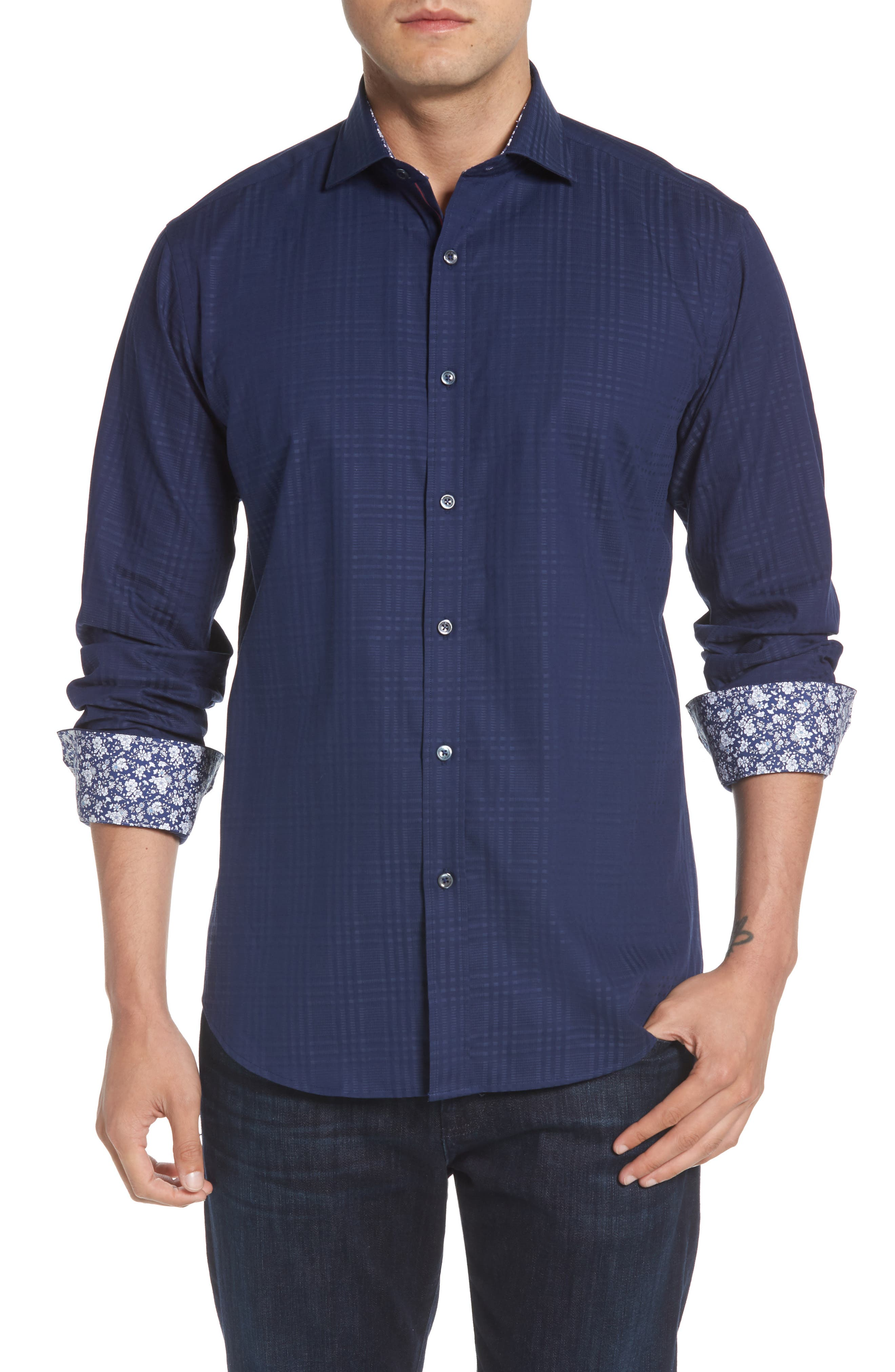 Shaped Fit Tonal Plaid Sport Shirt,                         Main,                         color, MIDNIGHT